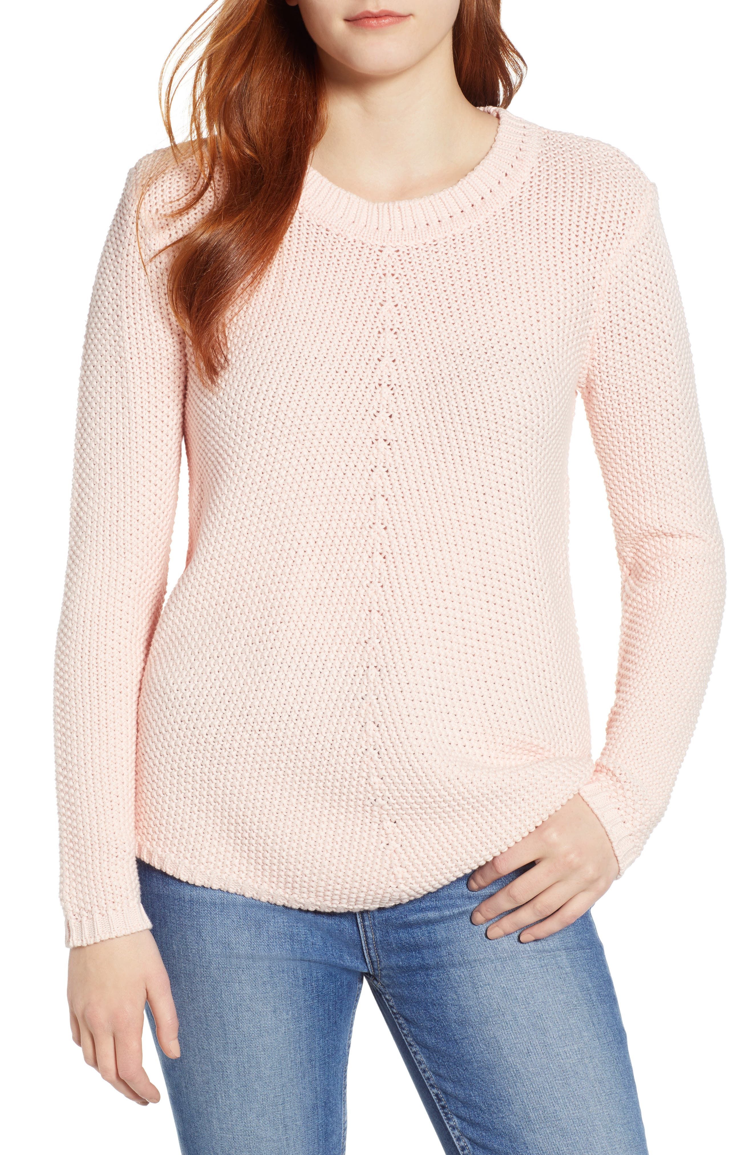 CASLON<SUP>®</SUP> Stitch Stripe Sweater, Main, color, PINK CHINTZ