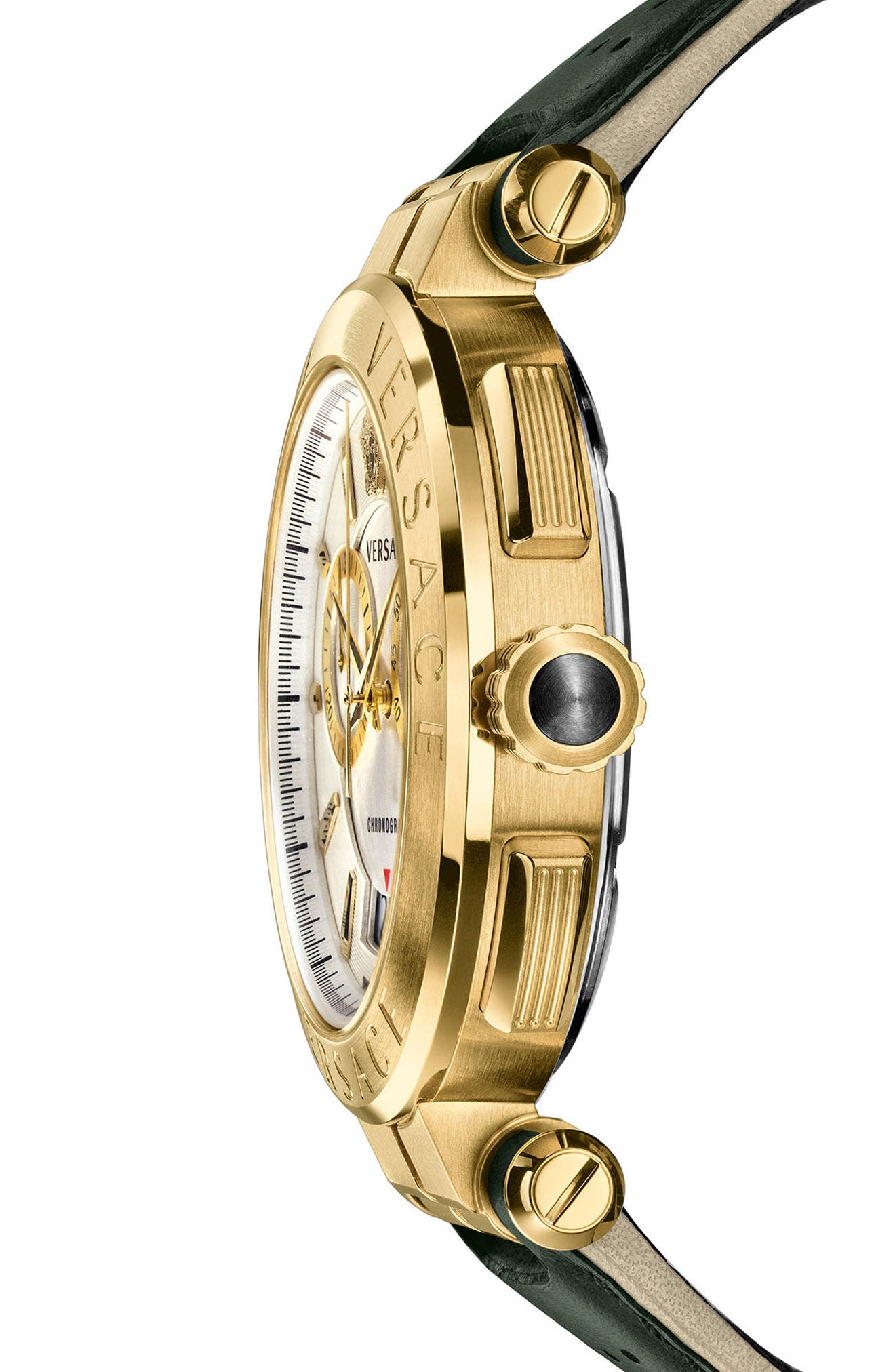 VERSACE, Aion Chronograph Leather Strap Watch, 45mm, Alternate thumbnail 3, color, GREY/ SILVER/ GOLD