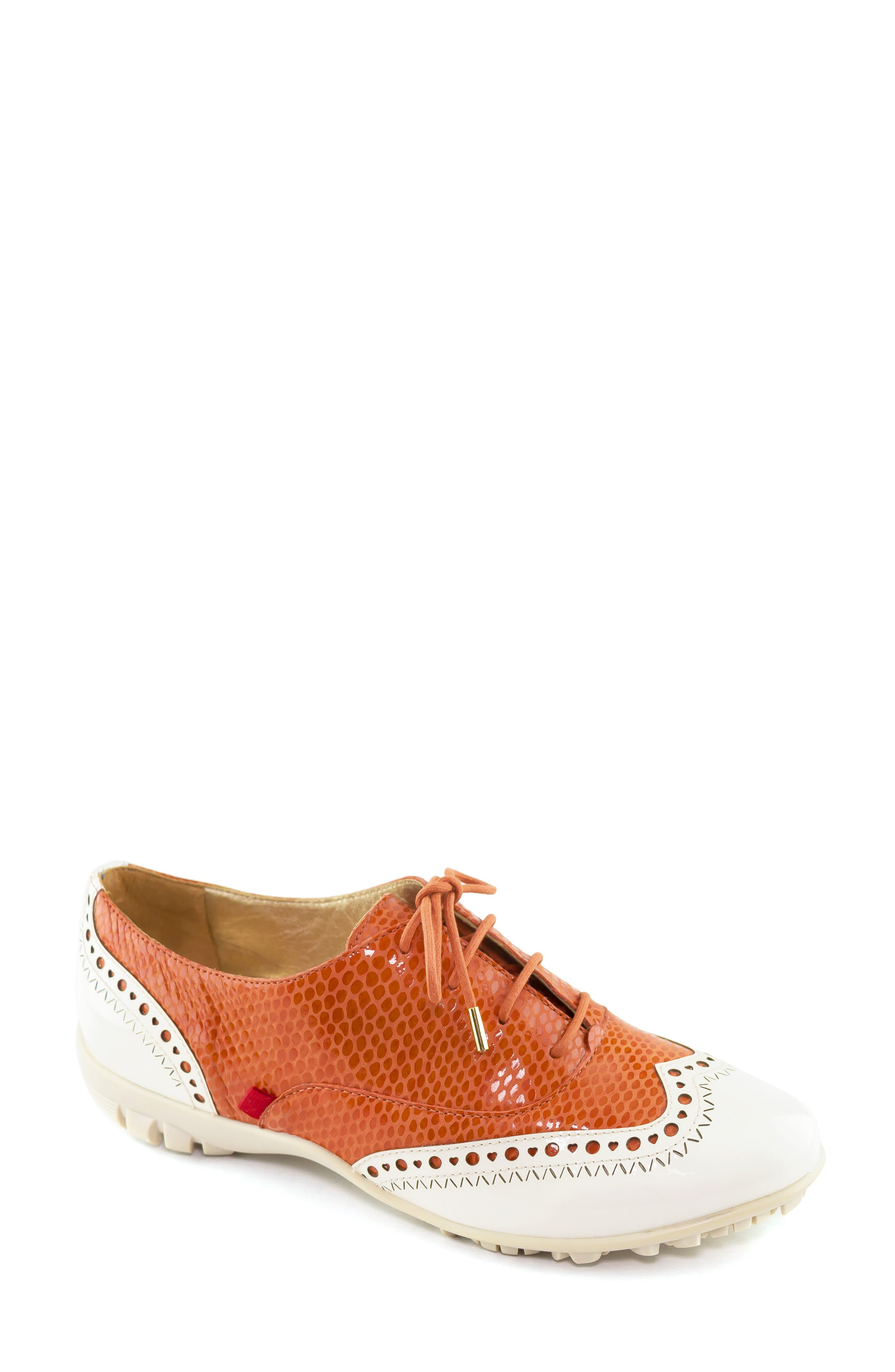 MARC JOSEPH NEW YORK, NYC Golf Loafer, Main thumbnail 1, color, CORAL SNAKE PRINT LEATHER