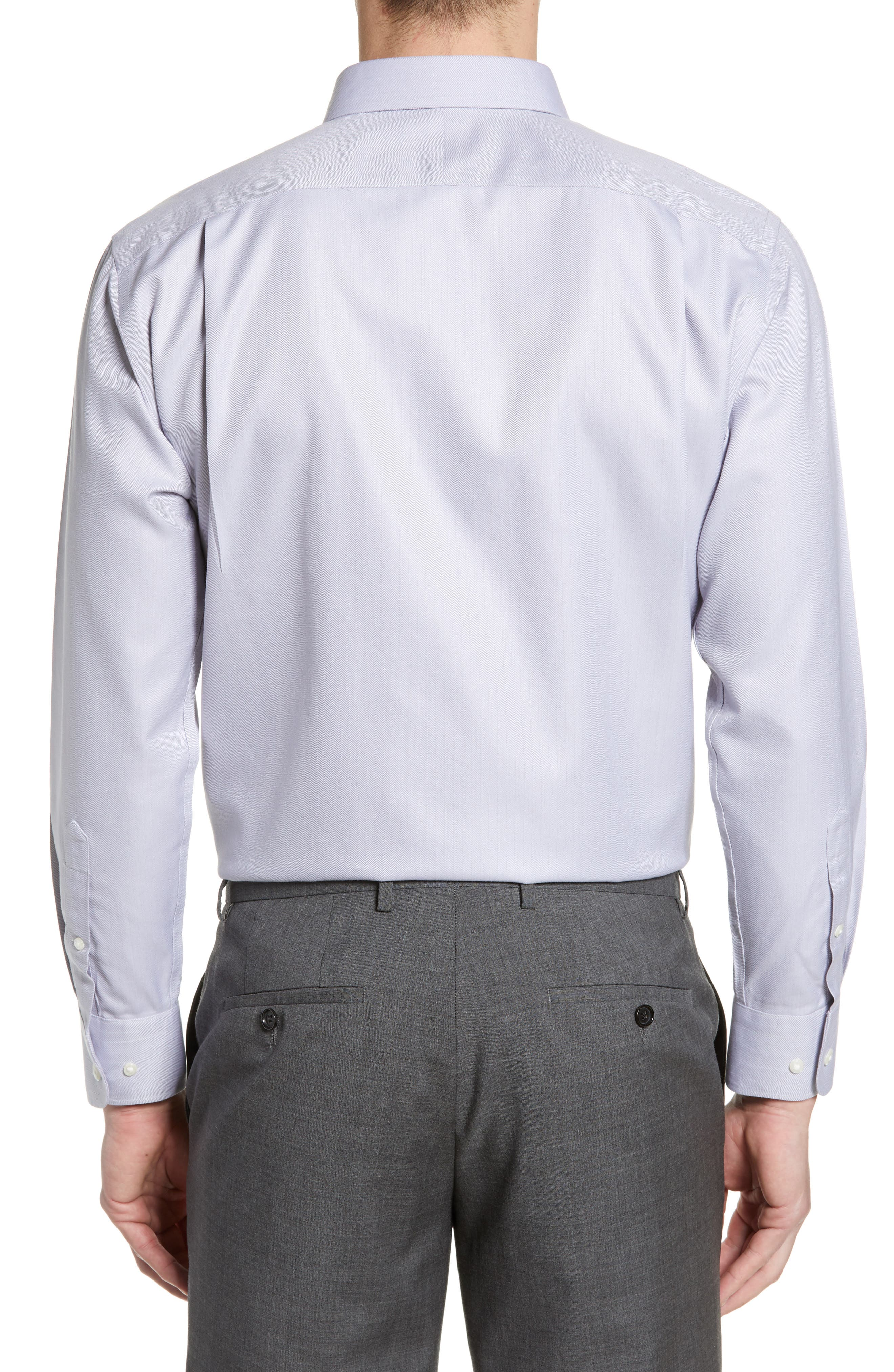 NORDSTROM MEN'S SHOP, Smartcare<sup>™</sup> Trim Fit Herringbone Dress Shirt, Alternate thumbnail 3, color, GREY DECEMBER