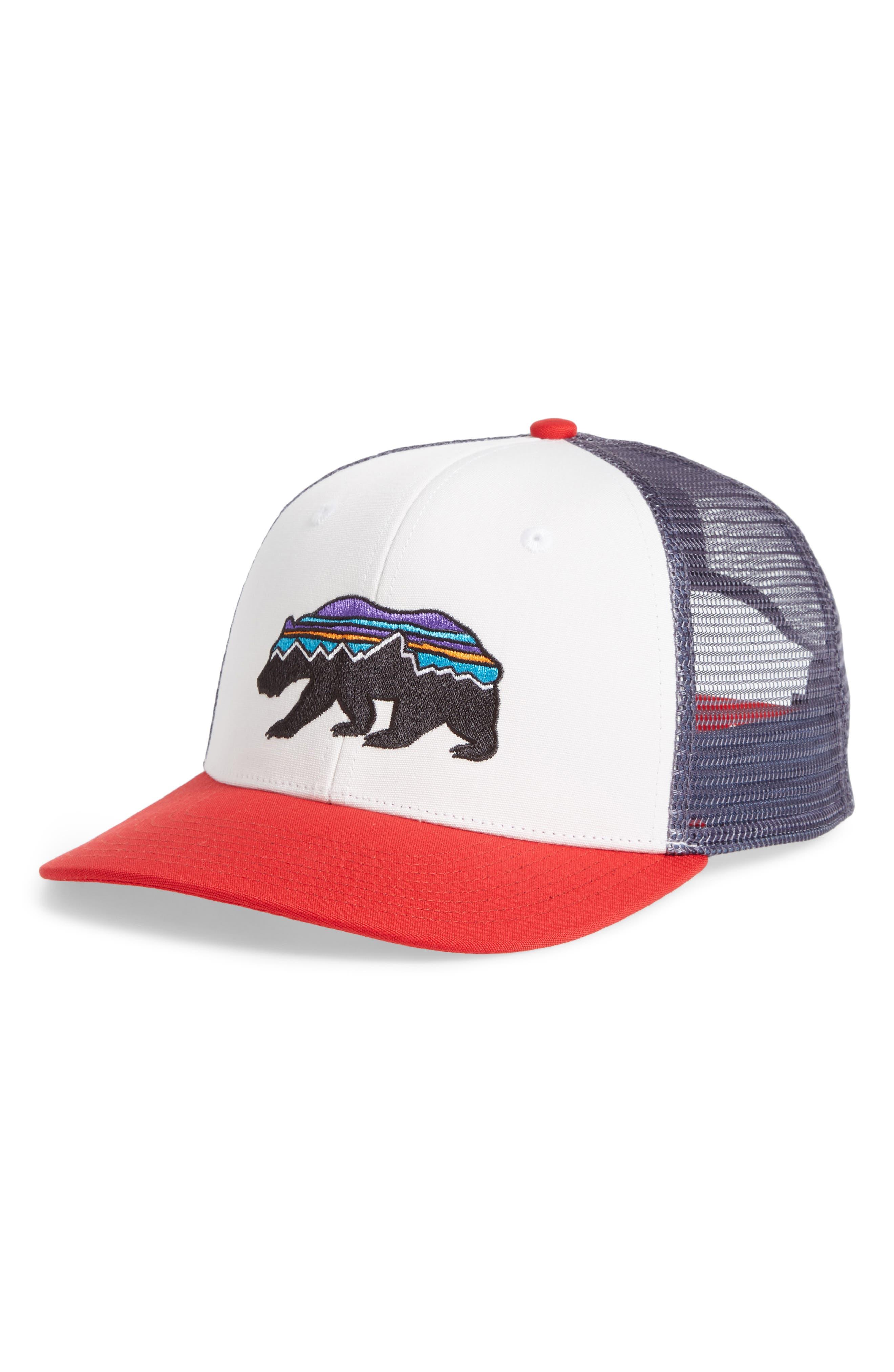 PATAGONIA, Fitz Roy Bear Trucker Cap, Main thumbnail 1, color, WHITE