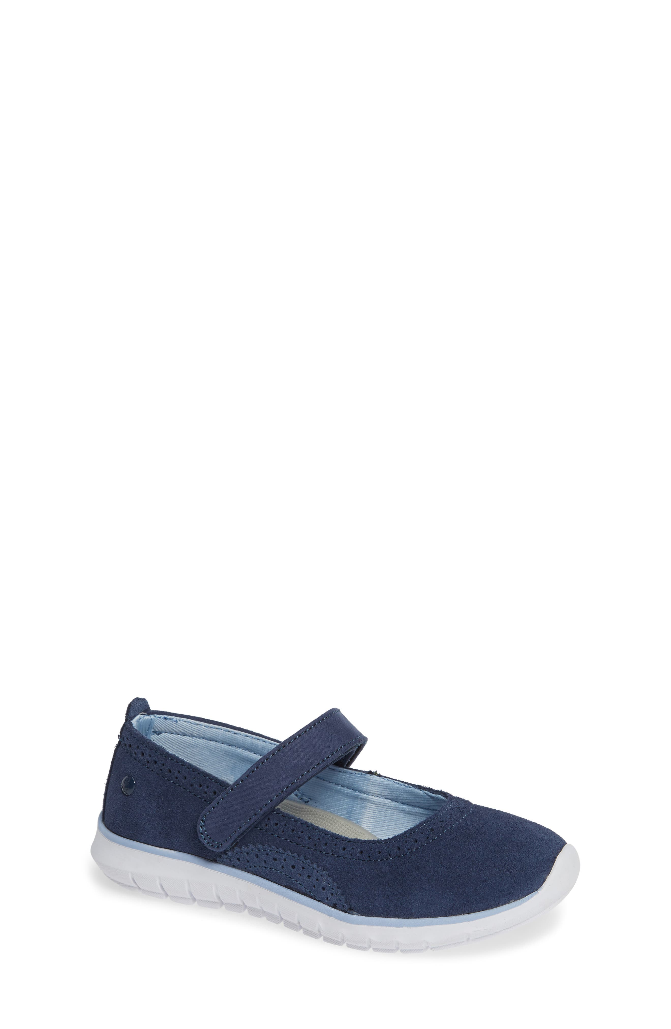 HUSH PUPPIES<SUP>®</SUP>, Flote Tricia Mary Jane Flat, Main thumbnail 1, color, NAVY