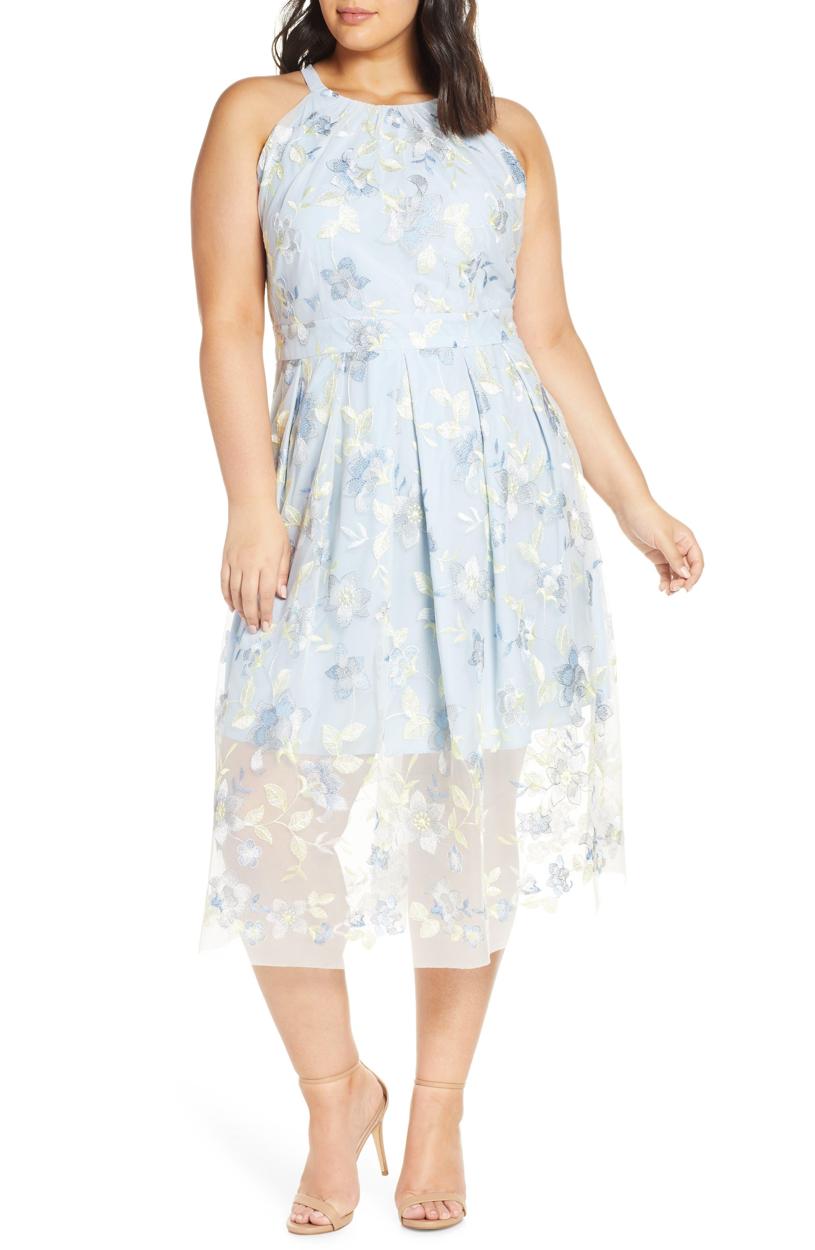 Plus Size Vince Camuto Embroidered Mesh Halter Neck Midi Dress, Blue