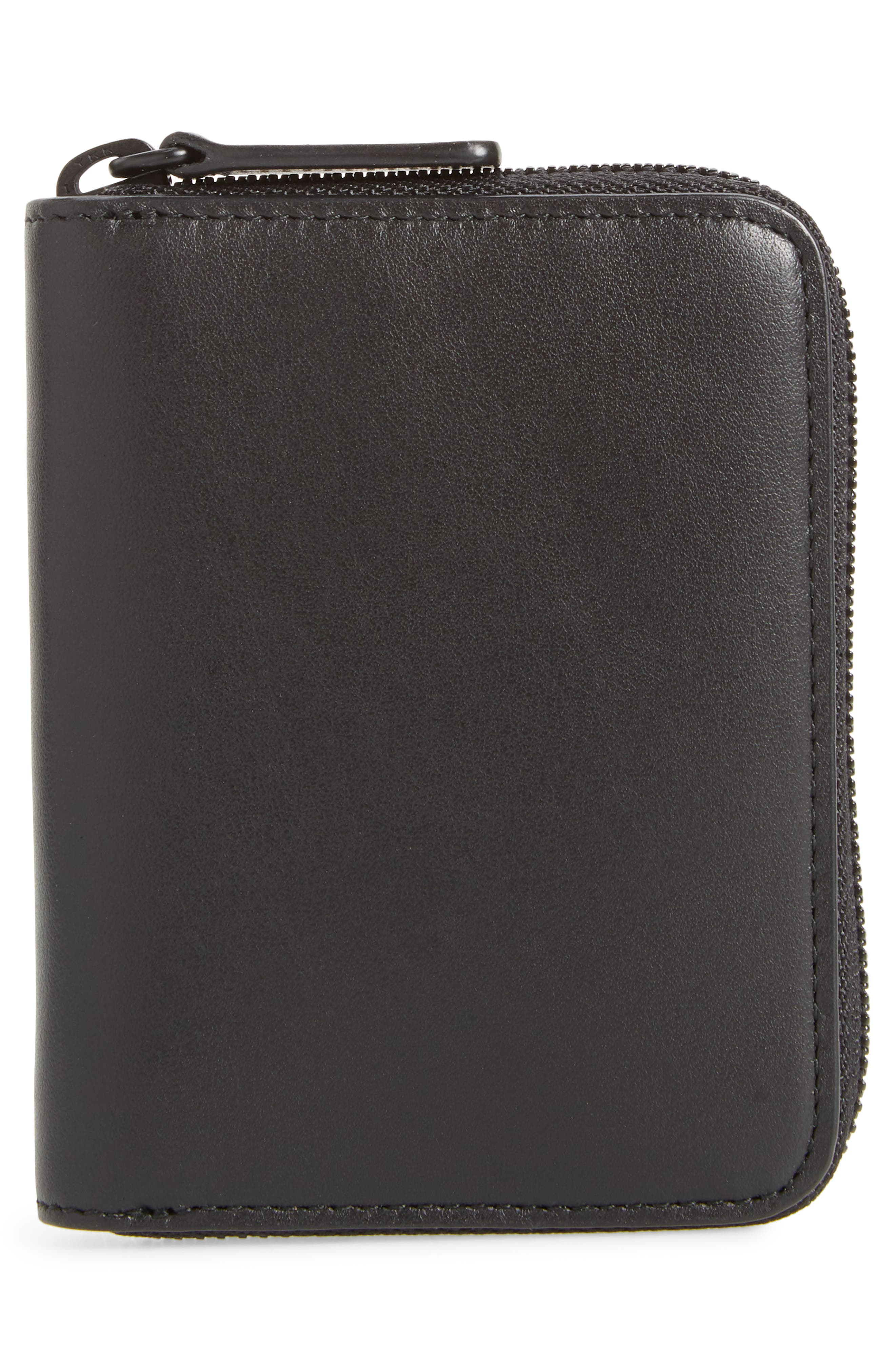 COMMON PROJECTS, Leather Coin Case, Alternate thumbnail 3, color, 001
