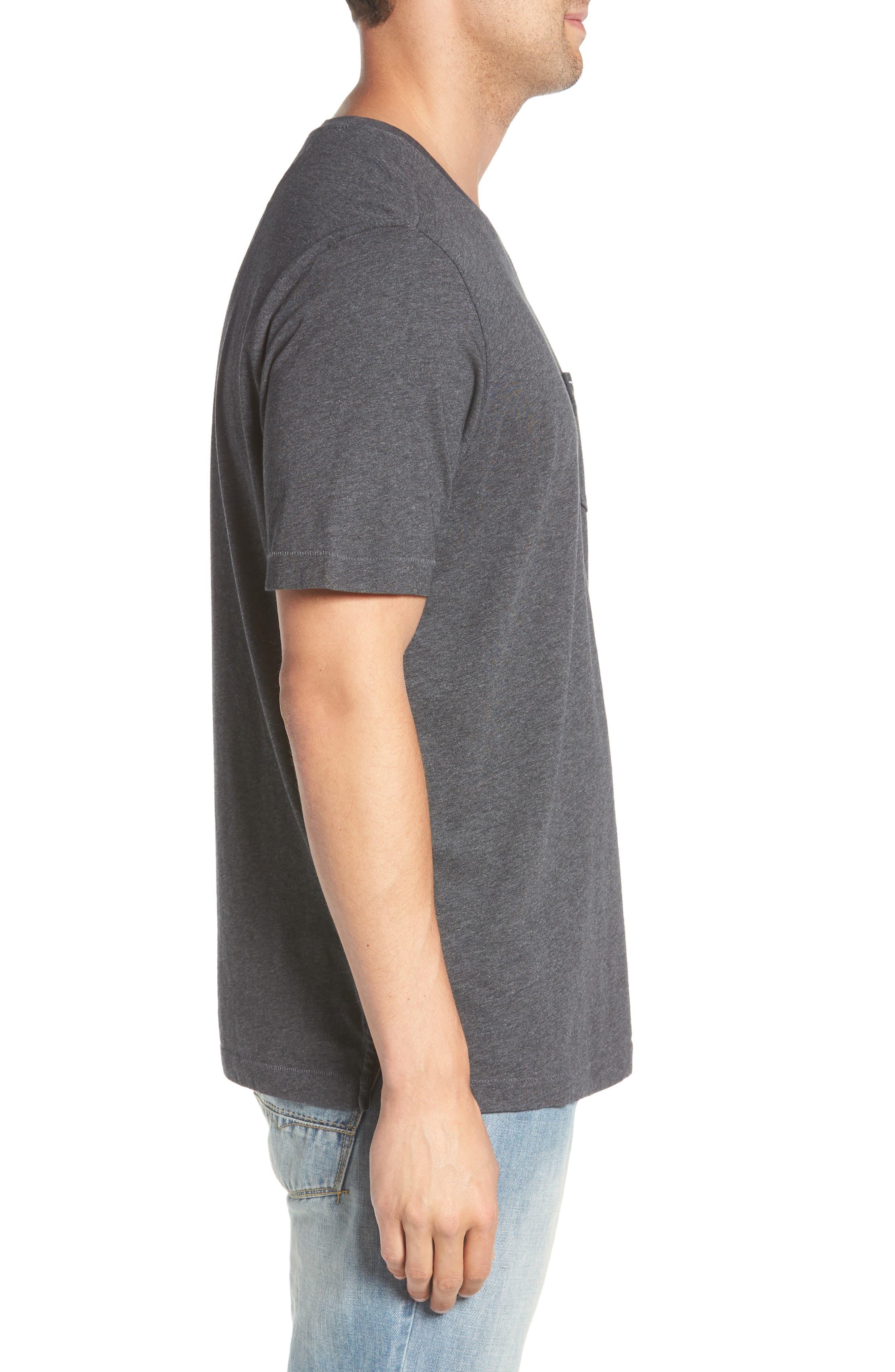 TOMMY BAHAMA, 'New Bali Sky' Original Fit Crewneck Pocket T-Shirt, Alternate thumbnail 3, color, CHARCOAL HEATHER