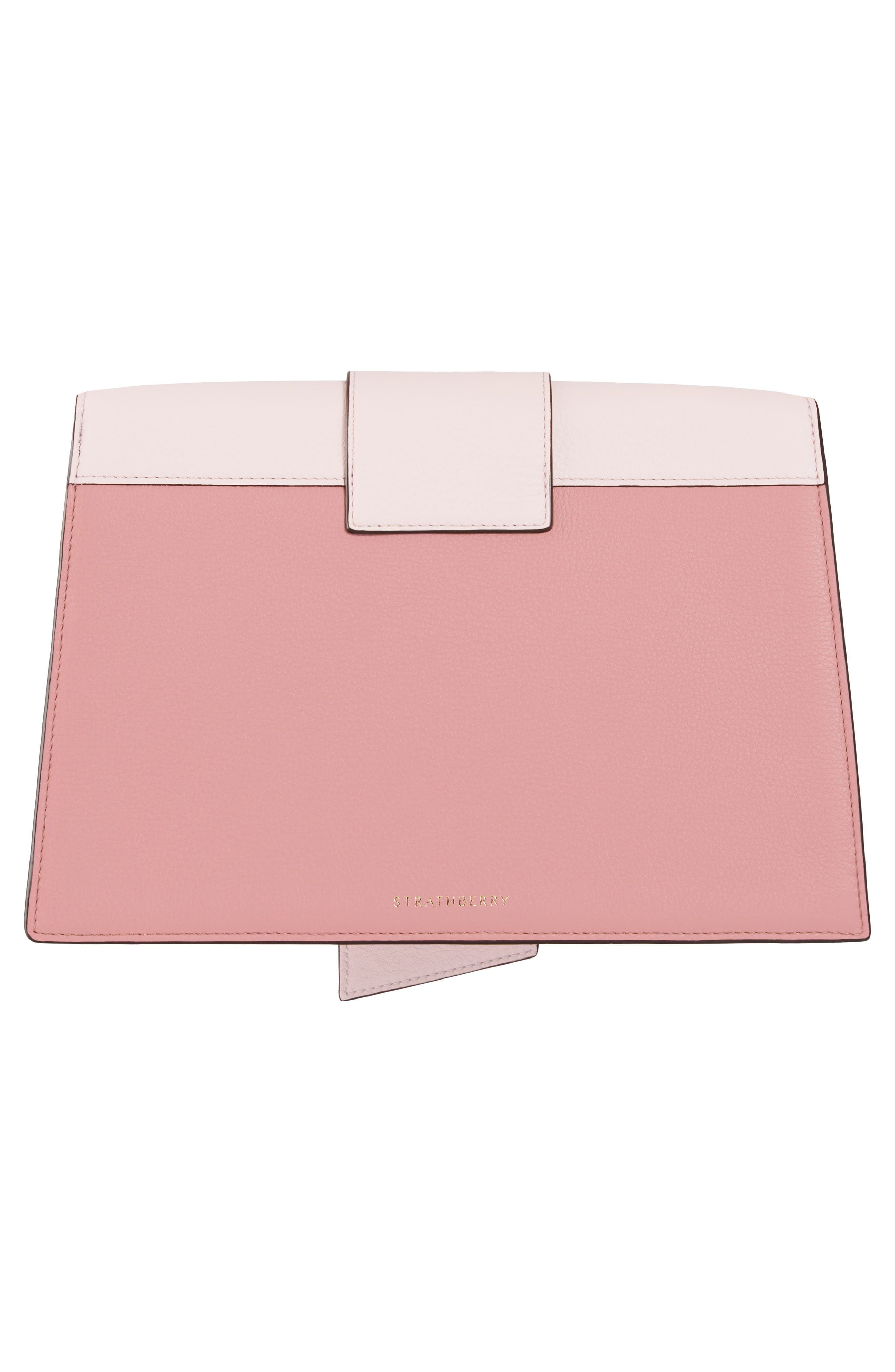 STRATHBERRY, Mini Crescent Leather Clutch, Alternate thumbnail 2, color, BABY PINK/ ROSE/ BURGUNDY