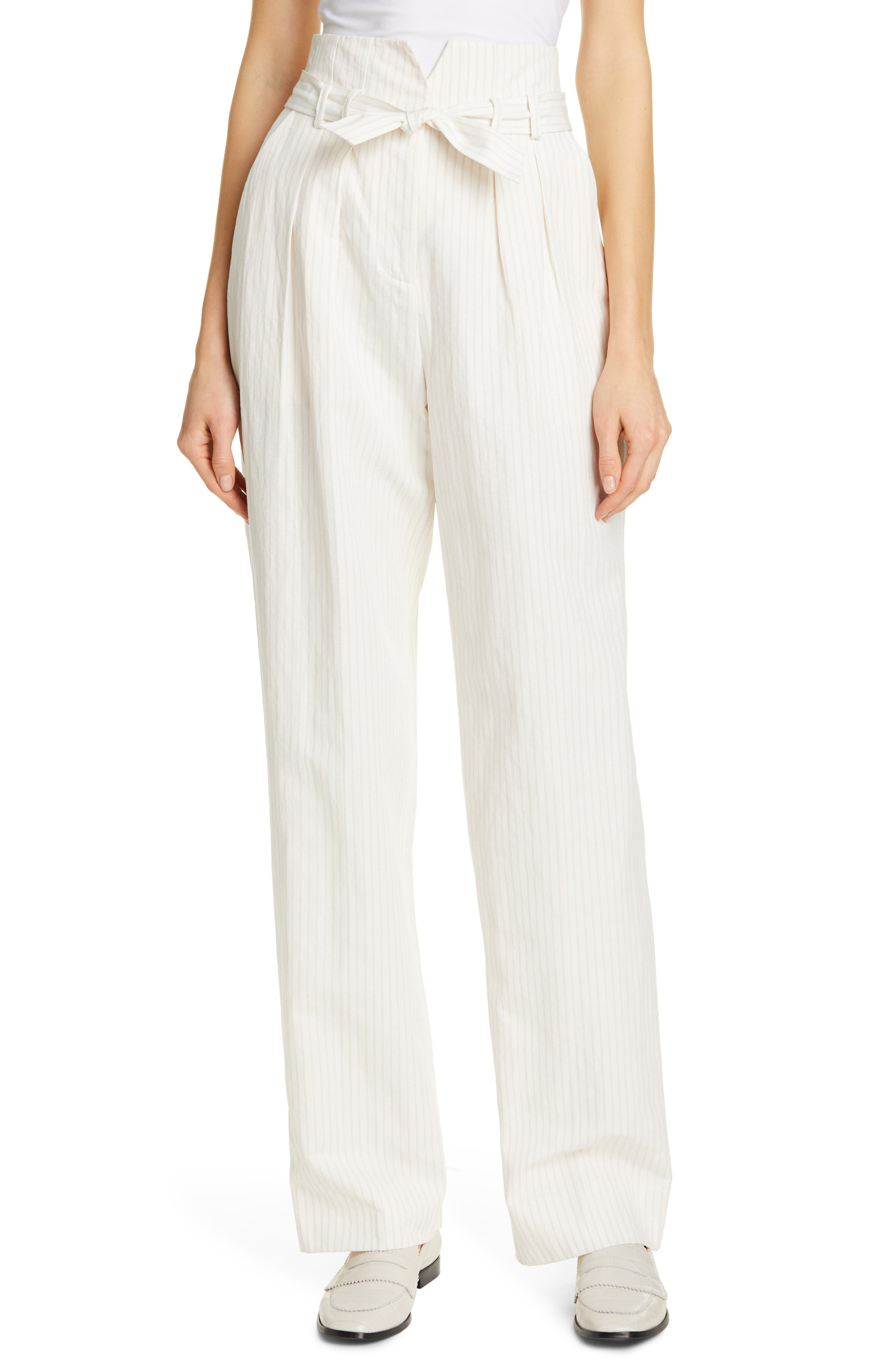 REBECCA TAYLOR, Pinstripe Belted Wide Leg Pants, Main thumbnail 1, color, SNOW COMBO