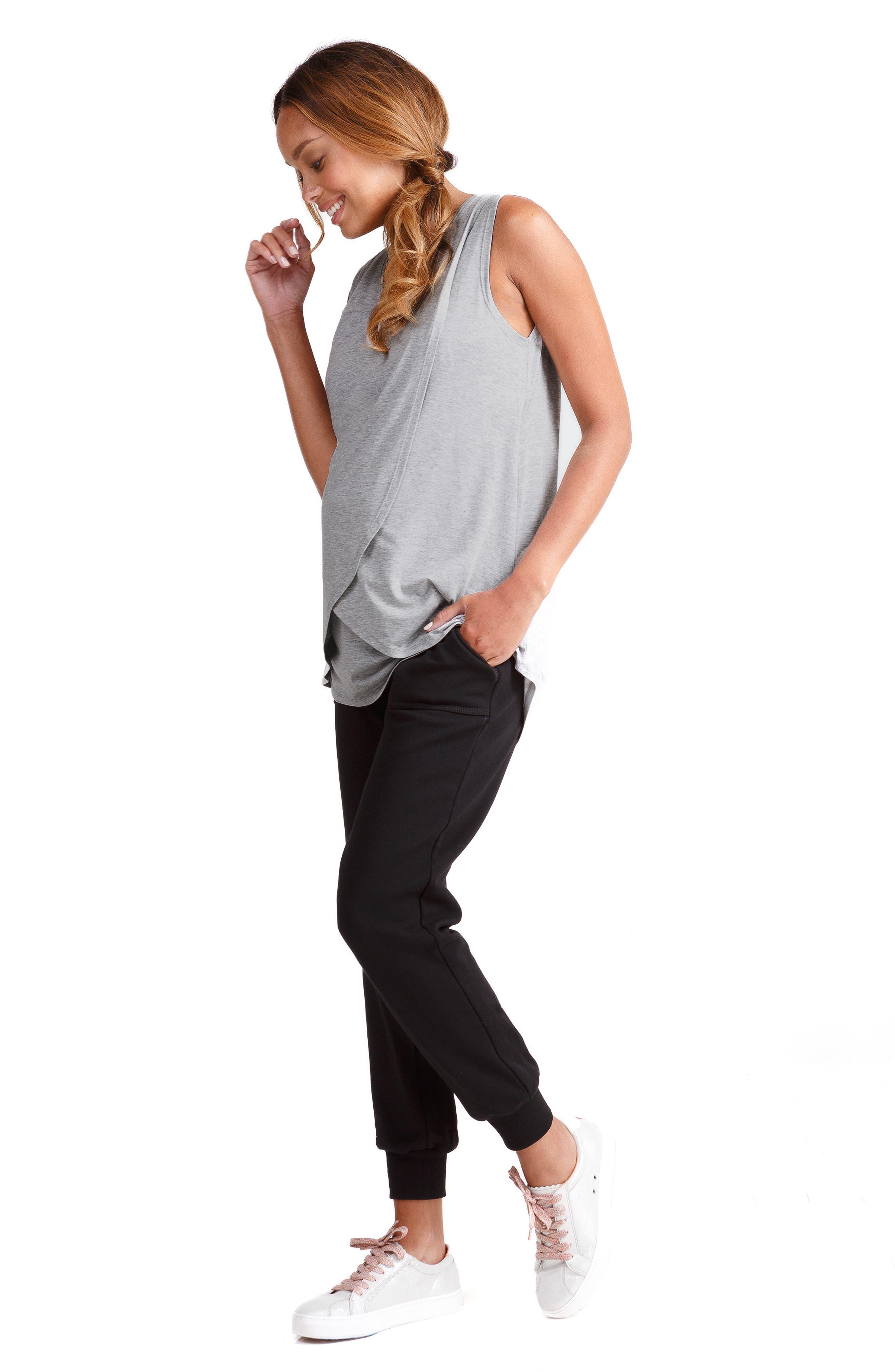 INGRID & ISABEL<SUP>®</SUP>, Knit Active Maternity Jogger Pants, Alternate thumbnail 5, color, JET BLACK