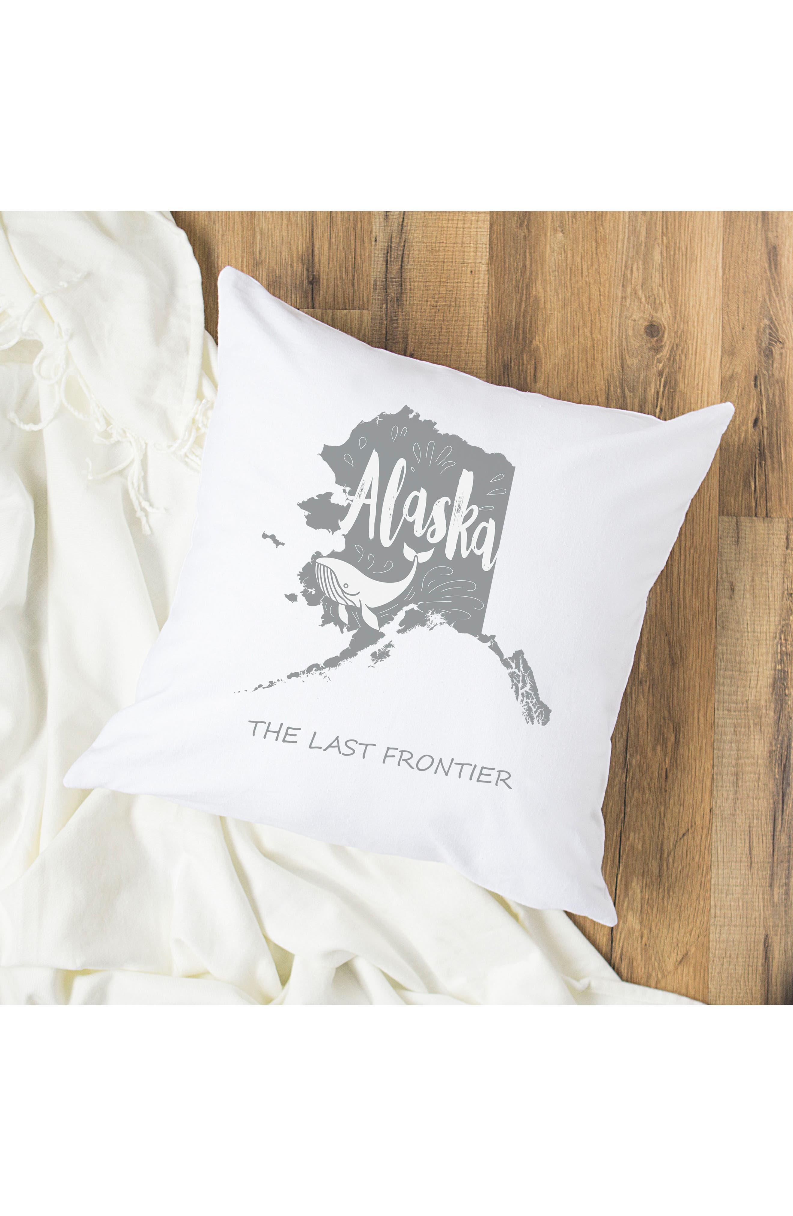 CATHY'S CONCEPTS, My State Accent Pillow, Alternate thumbnail 2, color, GREY-AK