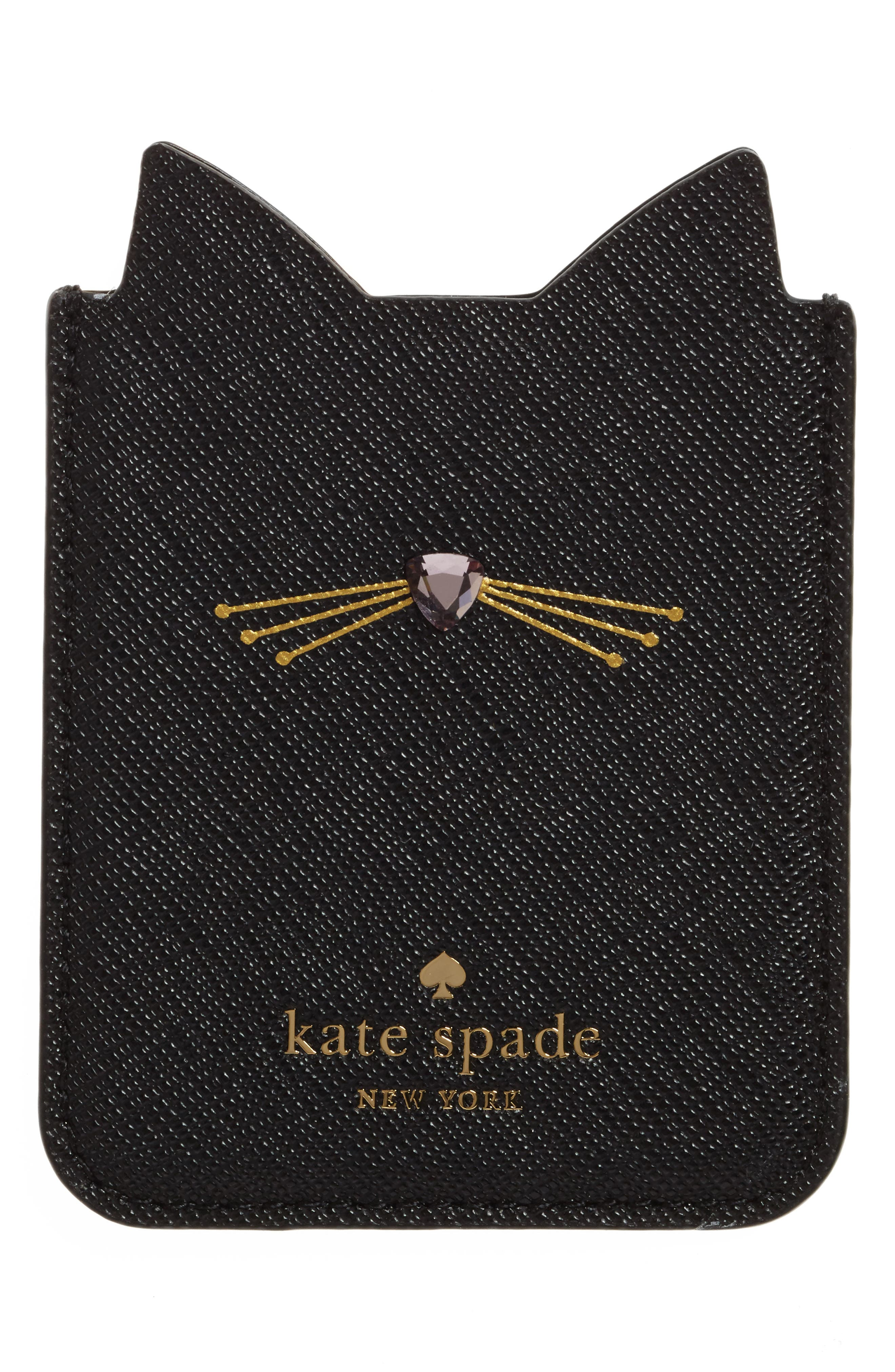KATE SPADE NEW YORK, cat iPhone 7/8 sticker pocket, Alternate thumbnail 2, color, 001