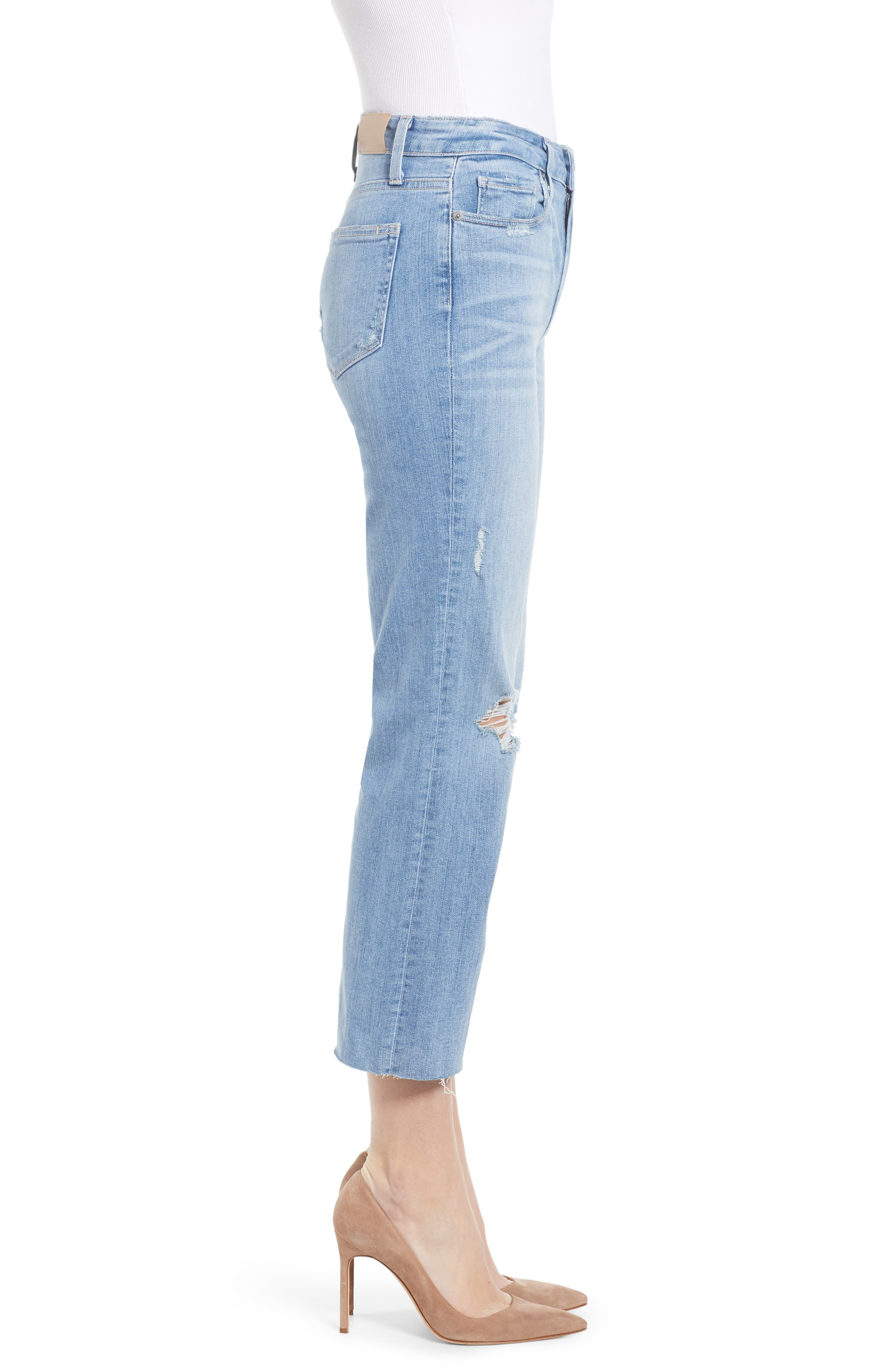 PAIGE, Atley Ripped Raw Hem Ankle Flare Jeans, Alternate thumbnail 4, color, FLORETTA DESTRUCTED