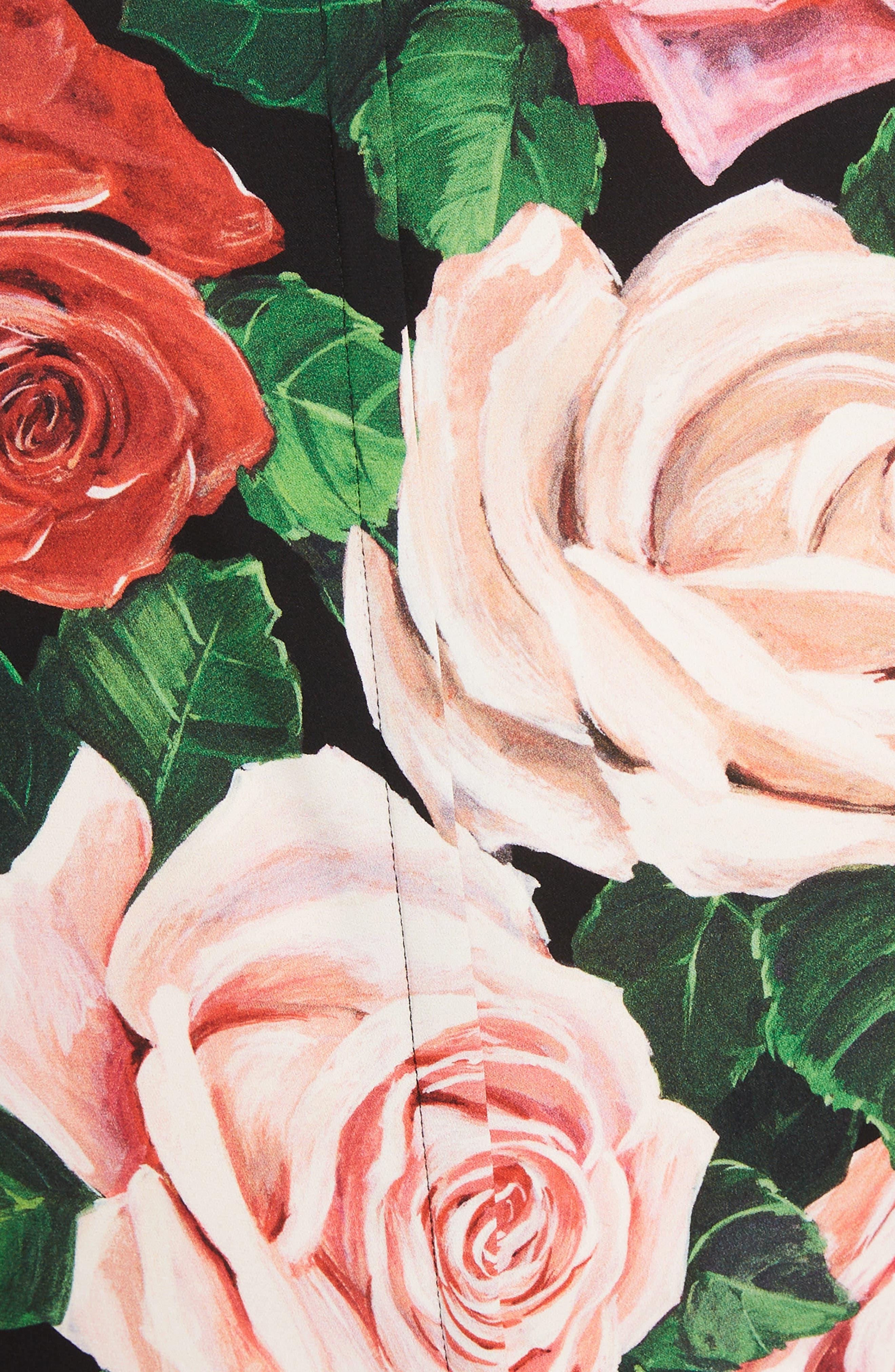 DOLCE&GABBANA, Rose Print Stretch Silk Top, Alternate thumbnail 5, color, BLACK ROSE