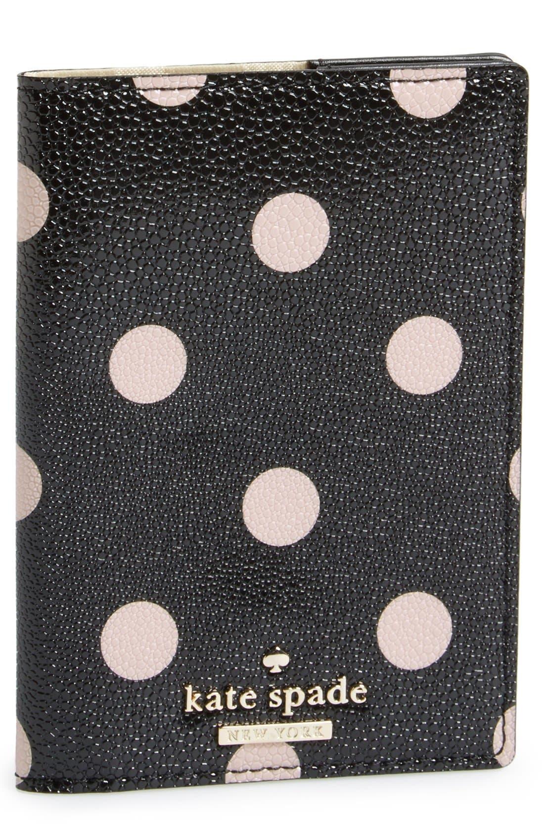 KATE SPADE NEW YORK 'cedar street dot' passport holder, Main, color, 002