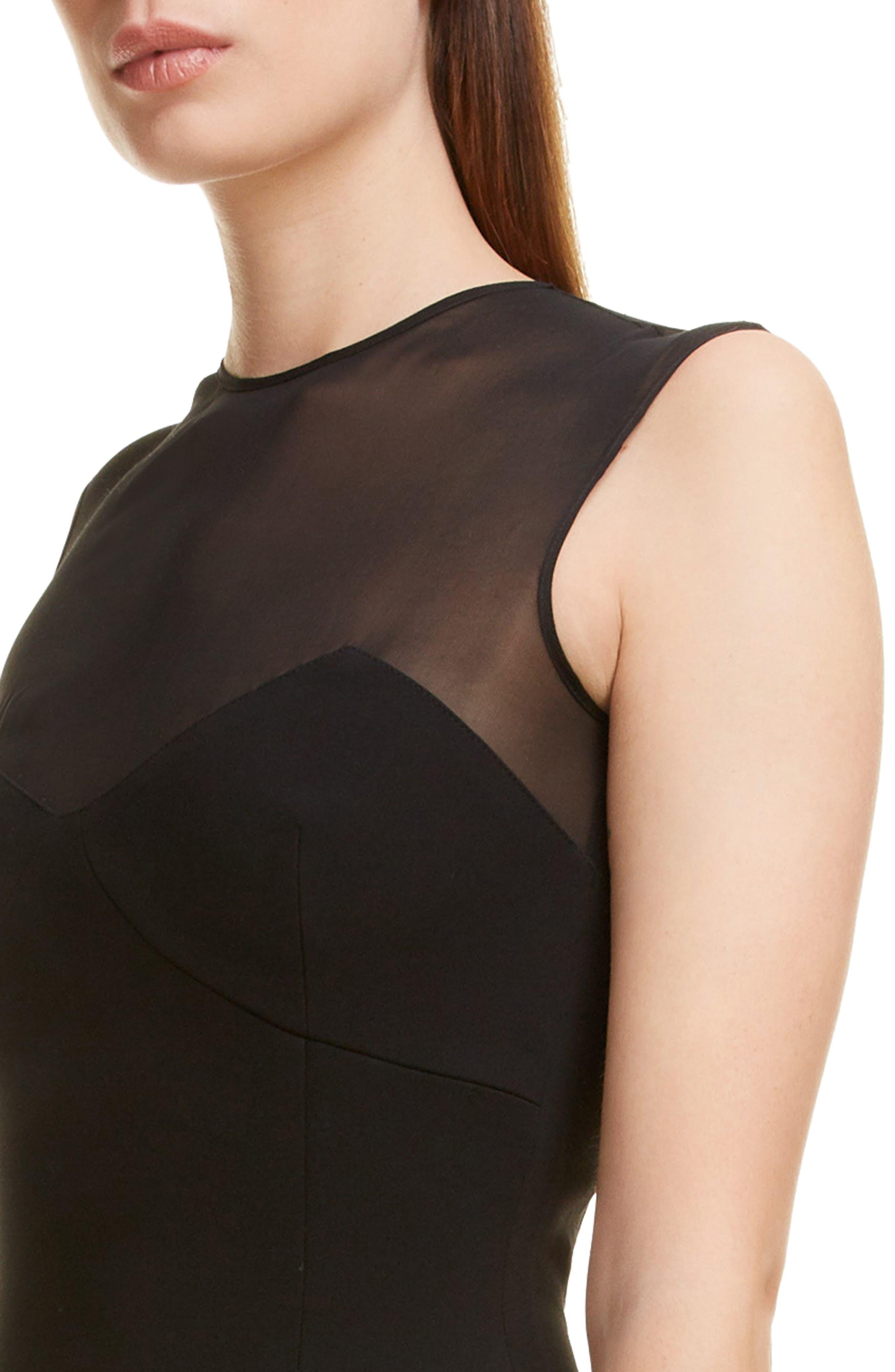 VICTORIA BECKHAM, Sheer Yoke Sheath Dress, Alternate thumbnail 4, color, BLACK