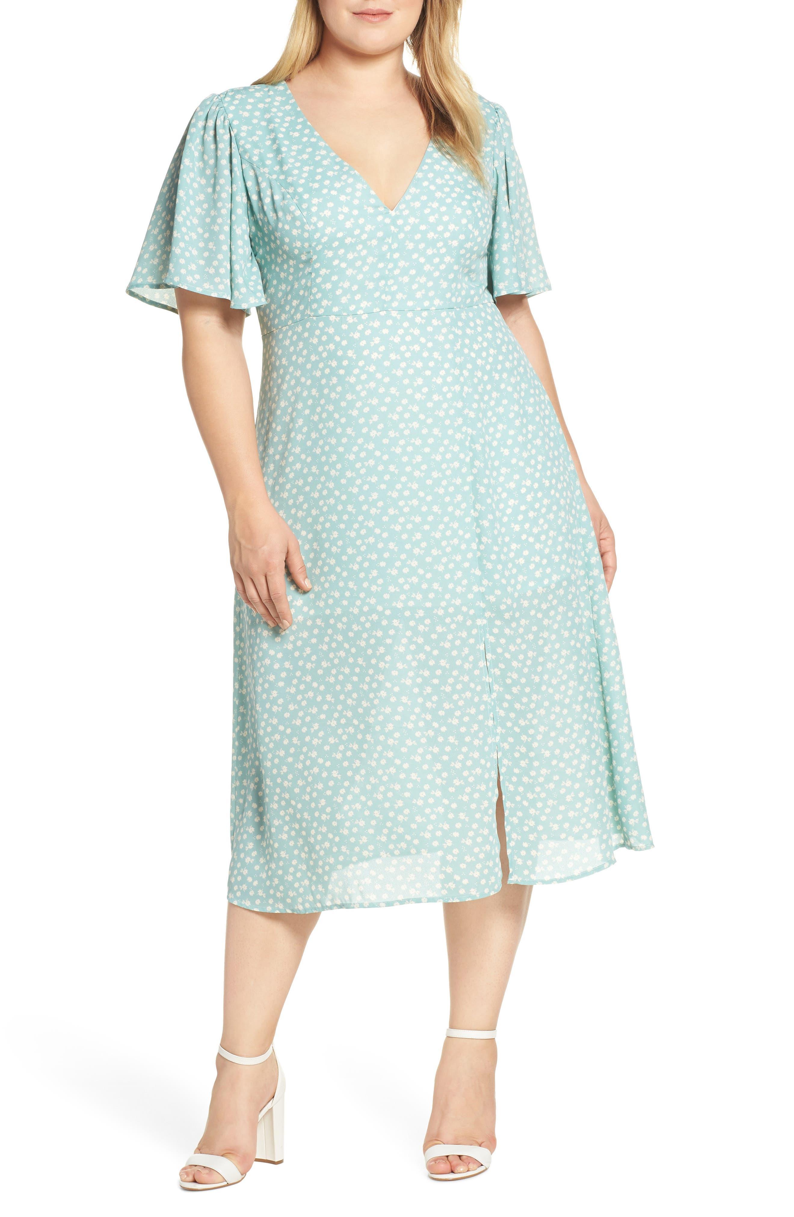 1930s Art Deco Plus Size Dresses | Tea Dresses, Party Dresses Plus Size Womens Leith Flutter Sleeve Midi Dress $41.40 AT vintagedancer.com