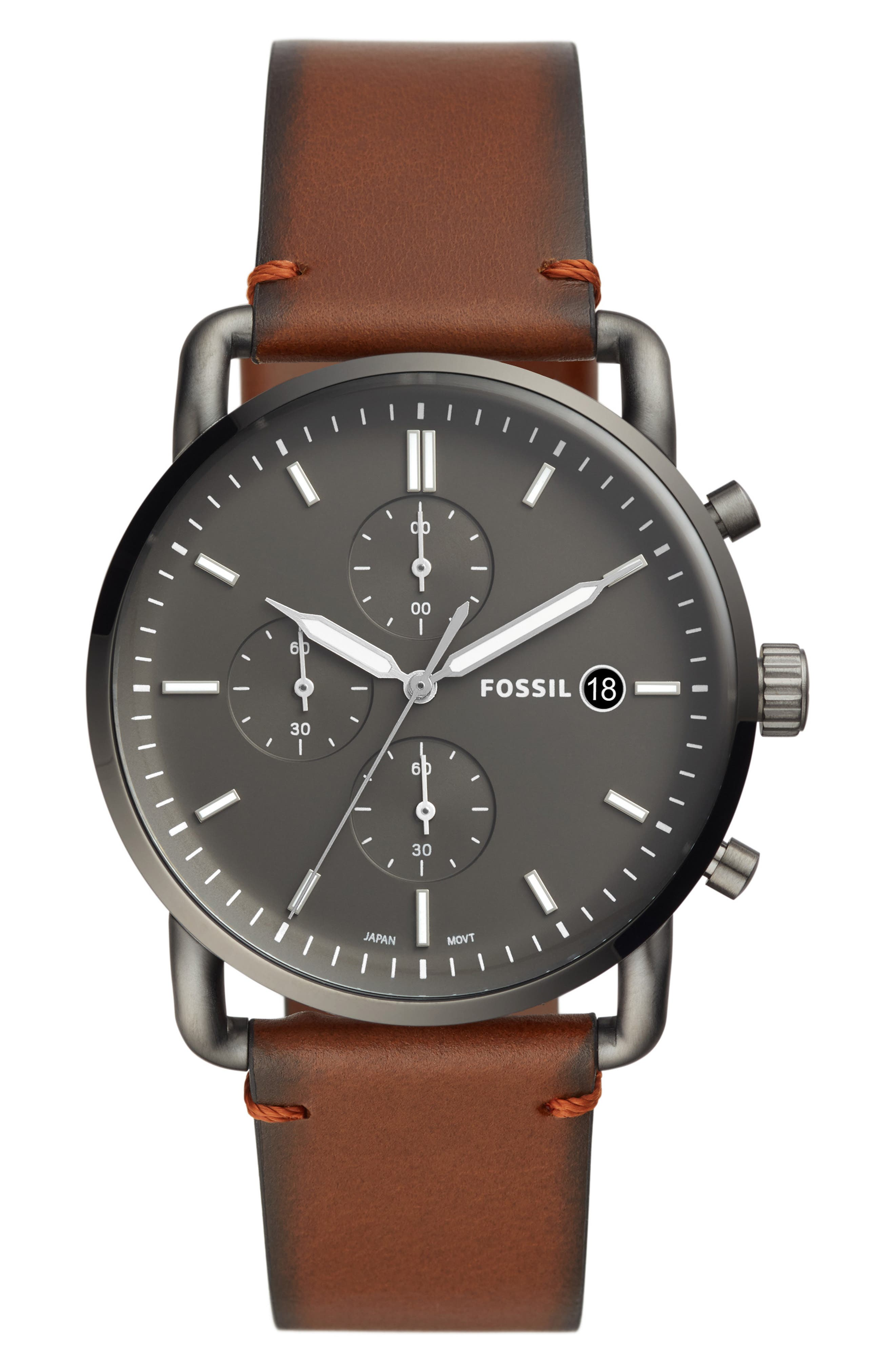 FOSSIL, The Commuter Chronograph Leather Strap Watch, 42mm, Main thumbnail 1, color, BROWN/ GREY/ SMOKE