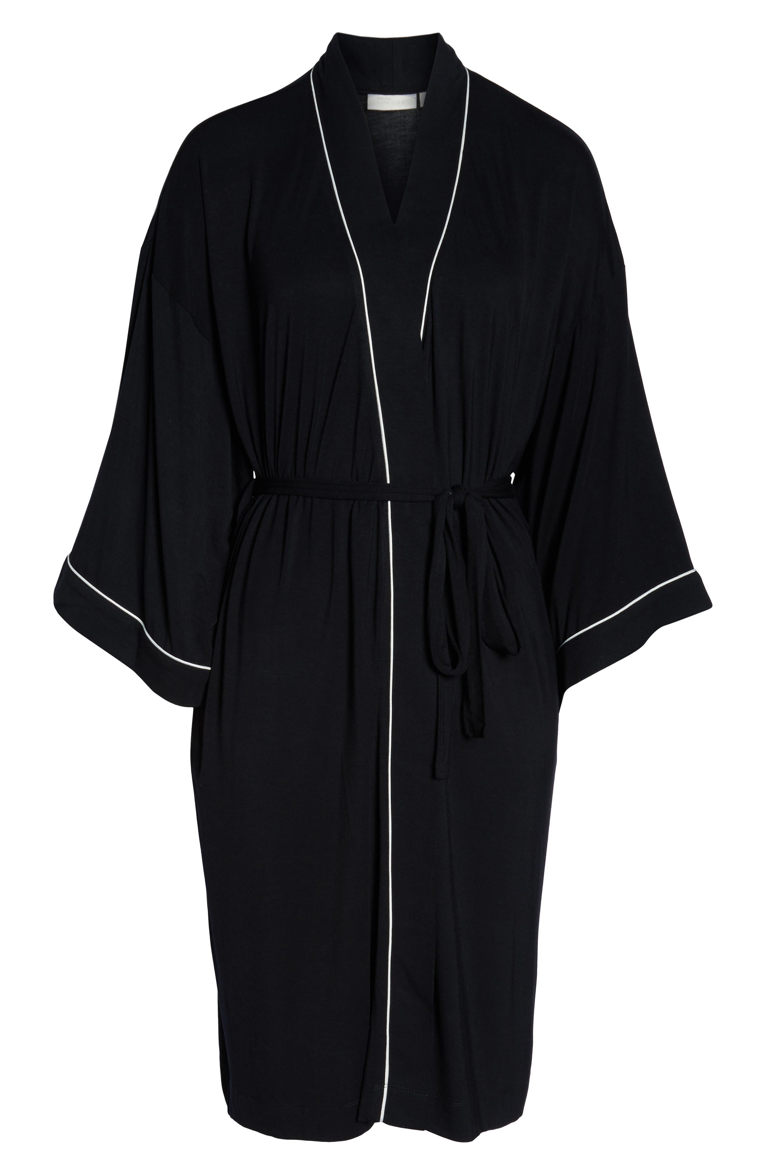 NORDSTROM LINGERIE, Moonlight Jersey Robe, Alternate thumbnail 6, color, 001