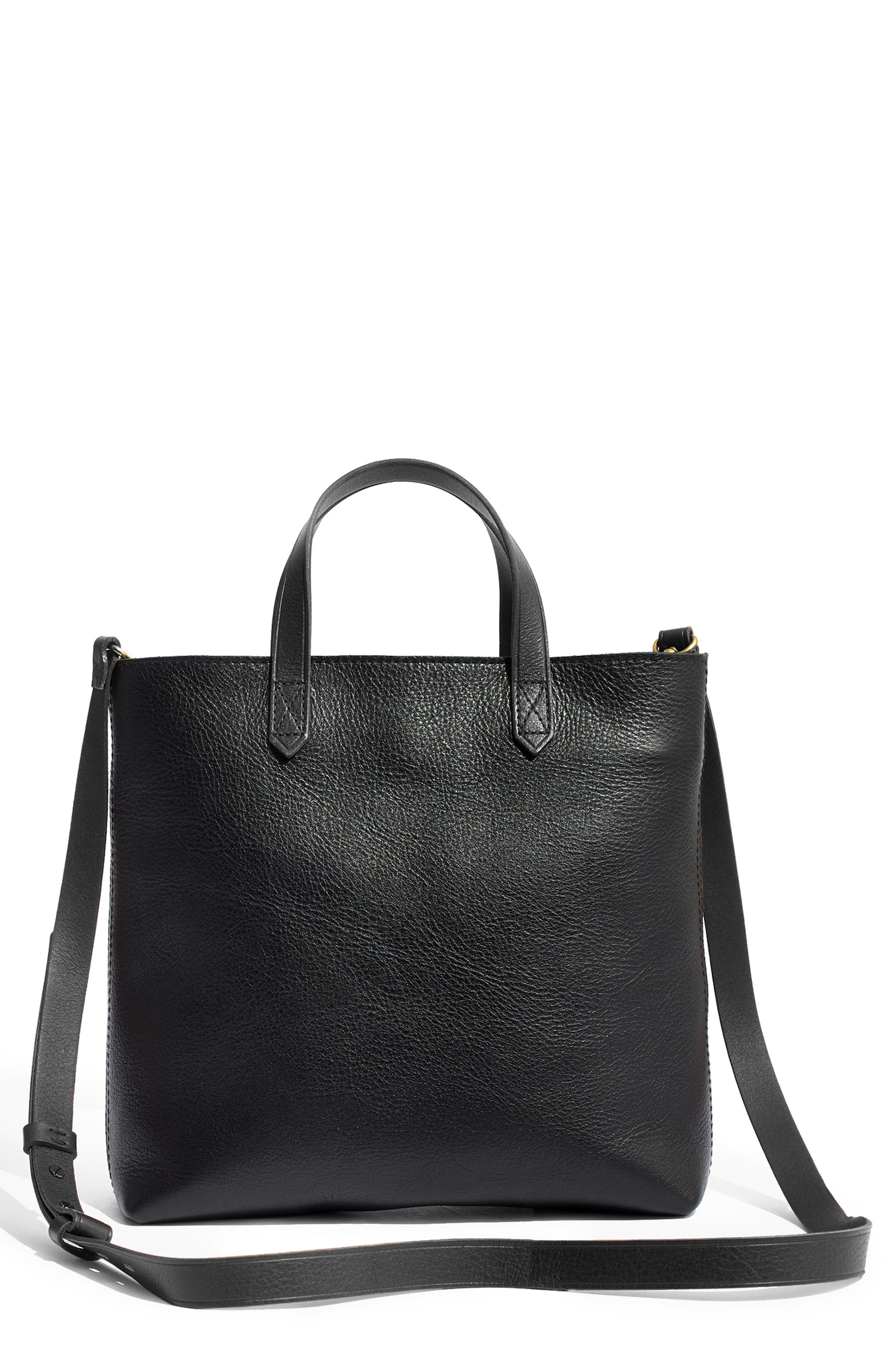 MADEWELL, Small Transport Leather Crossbody Tote, Main thumbnail 1, color, TRUE BLACK