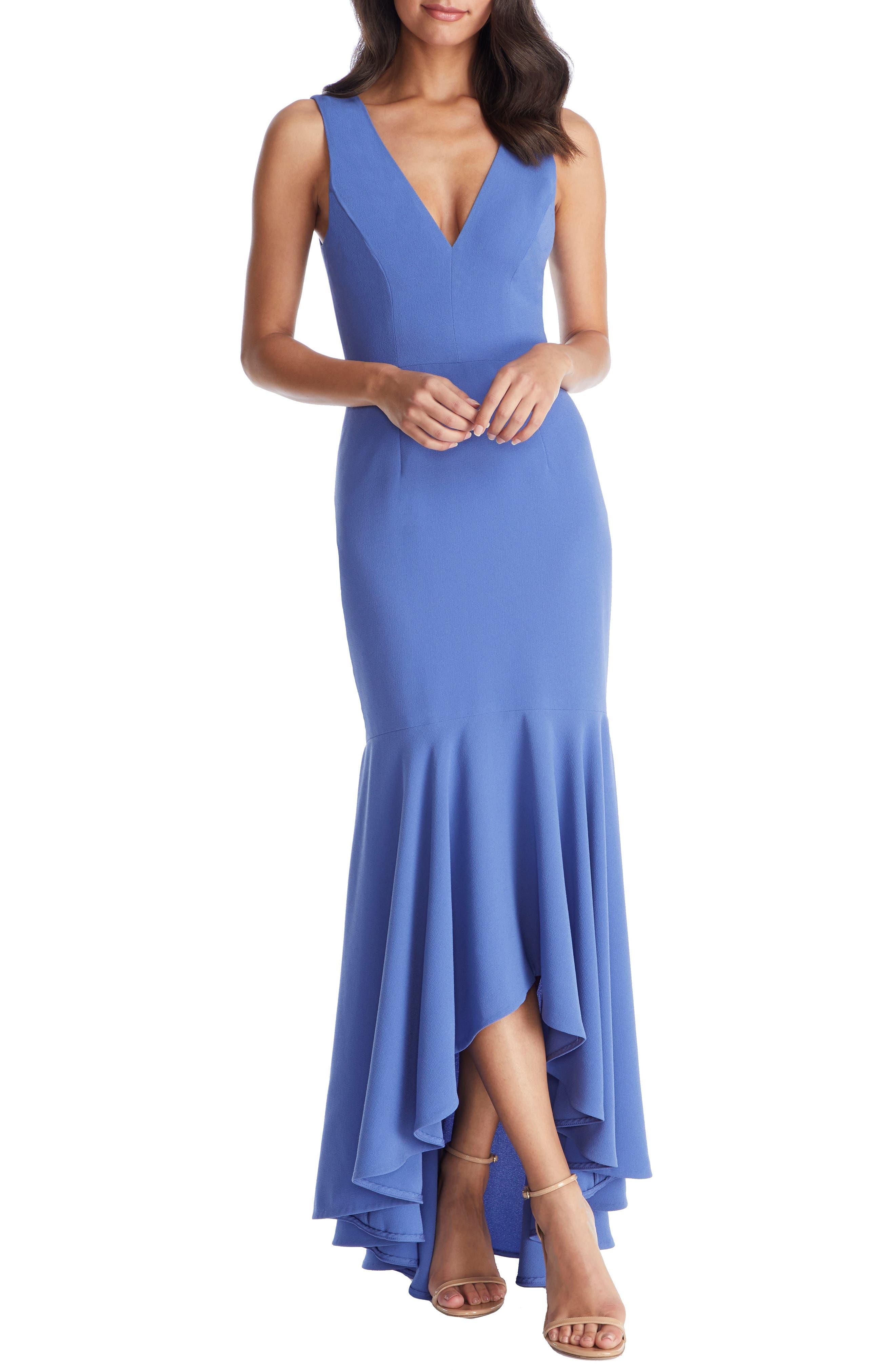 Dress The Population Demi High/low Mermaid Hem Evening Dress, Blue