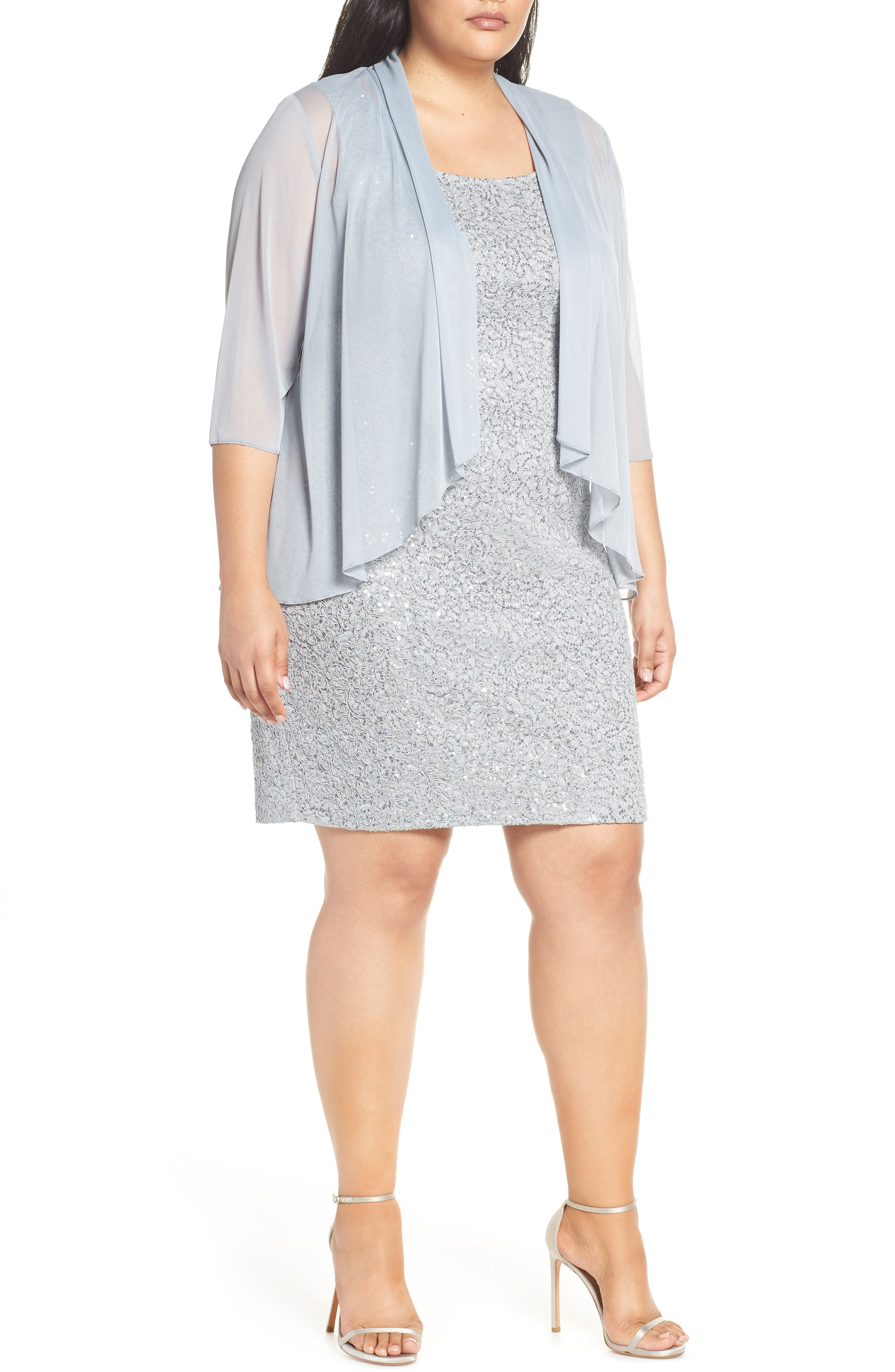 Plus Size Alex Evenings Sequin Sheath Dress & Chiffon Jacket, Blue