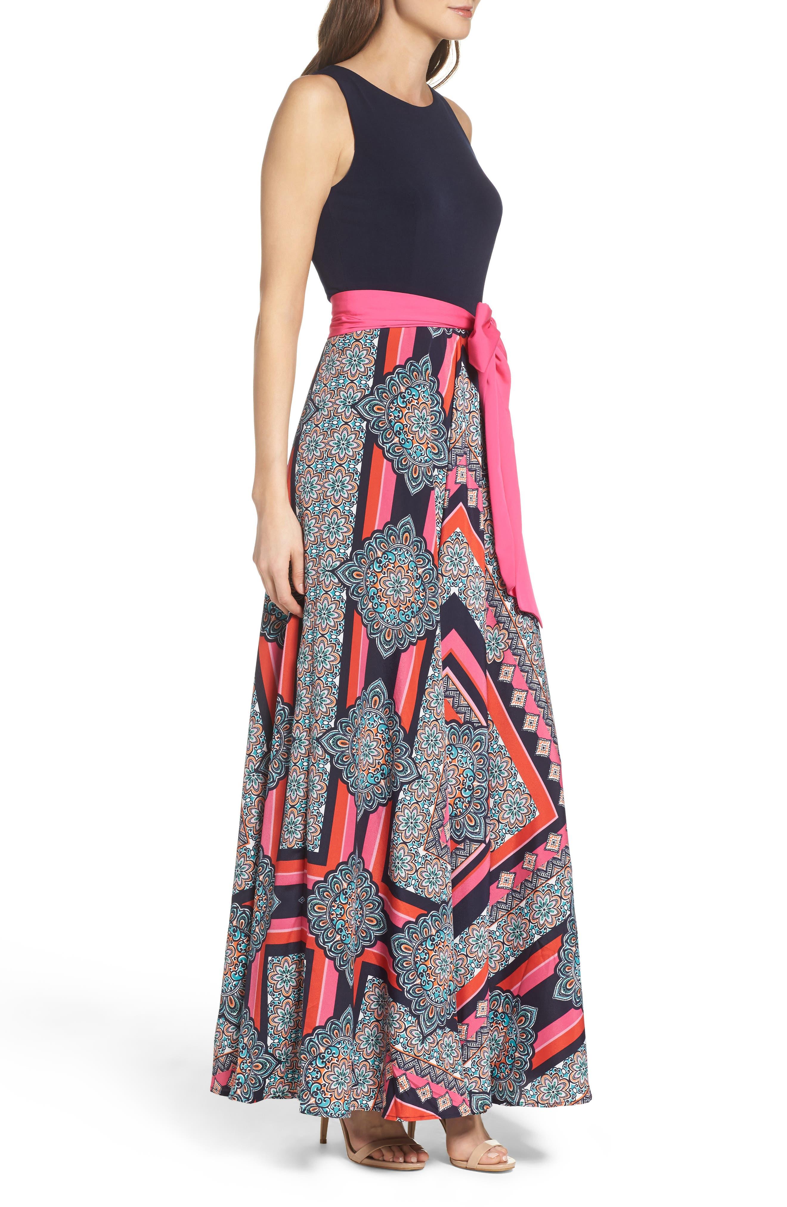 ELIZA J, Jersey & Crêpe de Chine Maxi Dress, Alternate thumbnail 3, color, 698