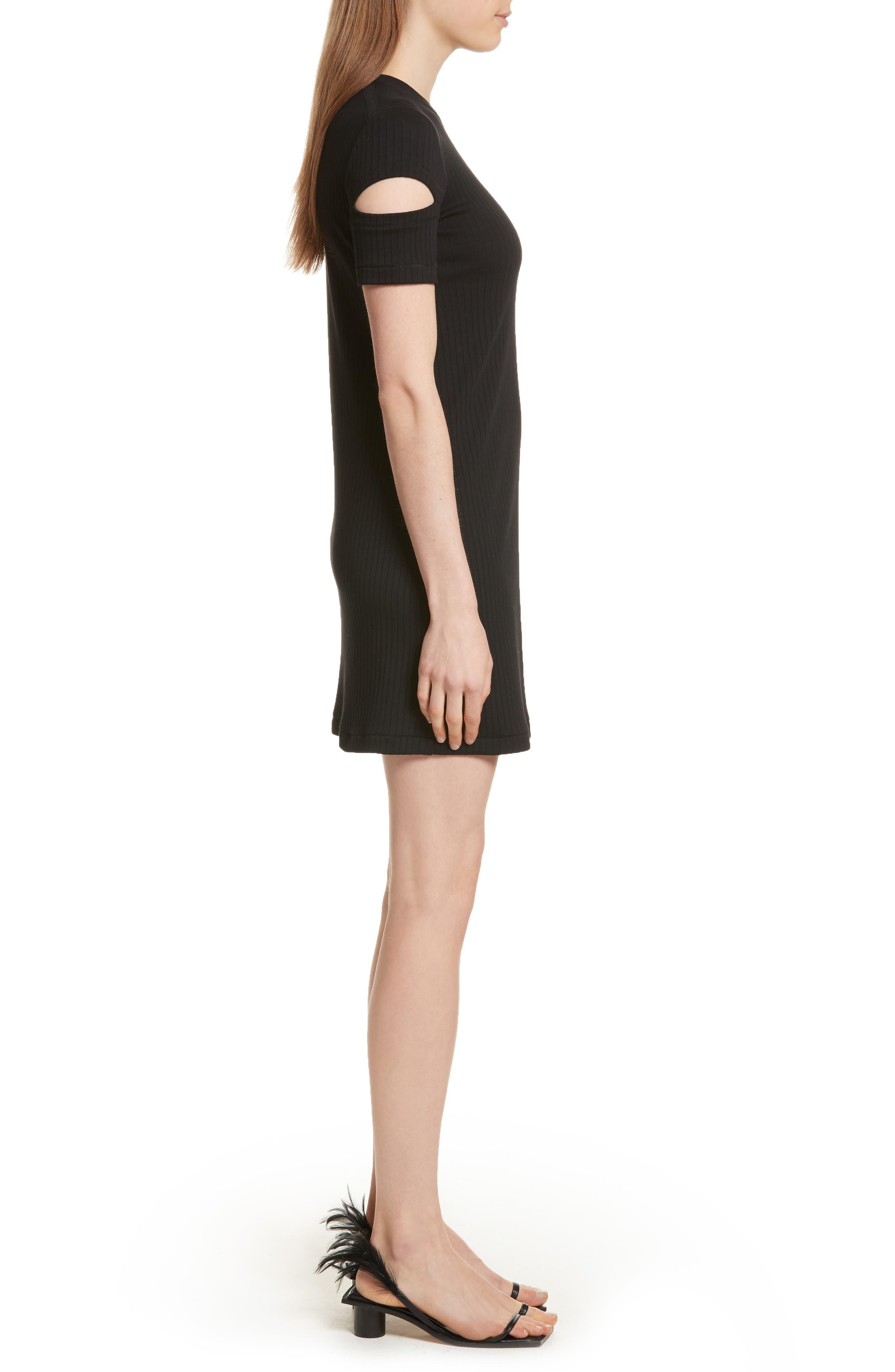 HELMUT LANG, Ribbed Slash Sleeve Dress, Alternate thumbnail 4, color, BLACK