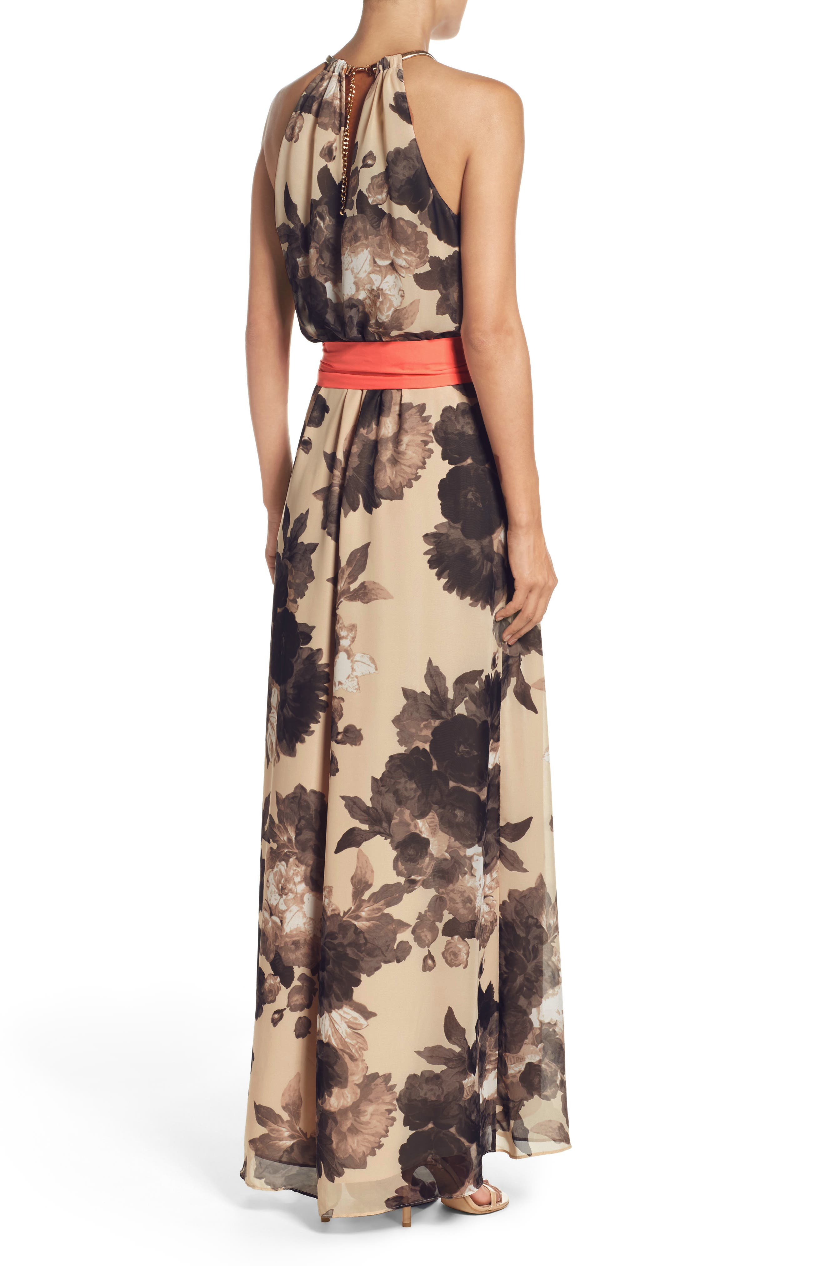 ELIZA J, Floral Print Halter Chiffon Maxi Dress, Alternate thumbnail 2, color, 250