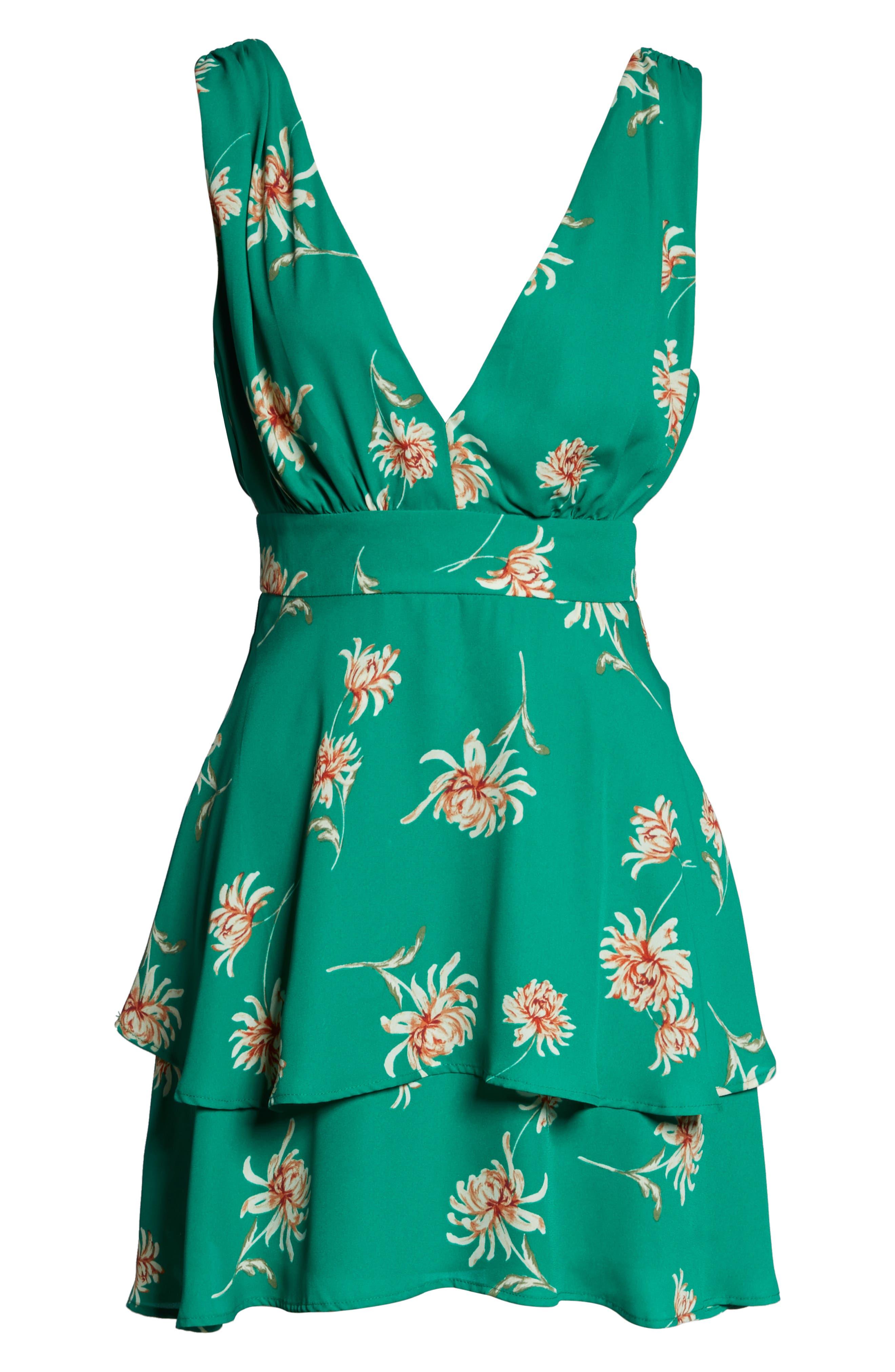 BB DAKOTA, Garden Strolls Blossom Party Minidress, Alternate thumbnail 7, color, PEPPER GREEN