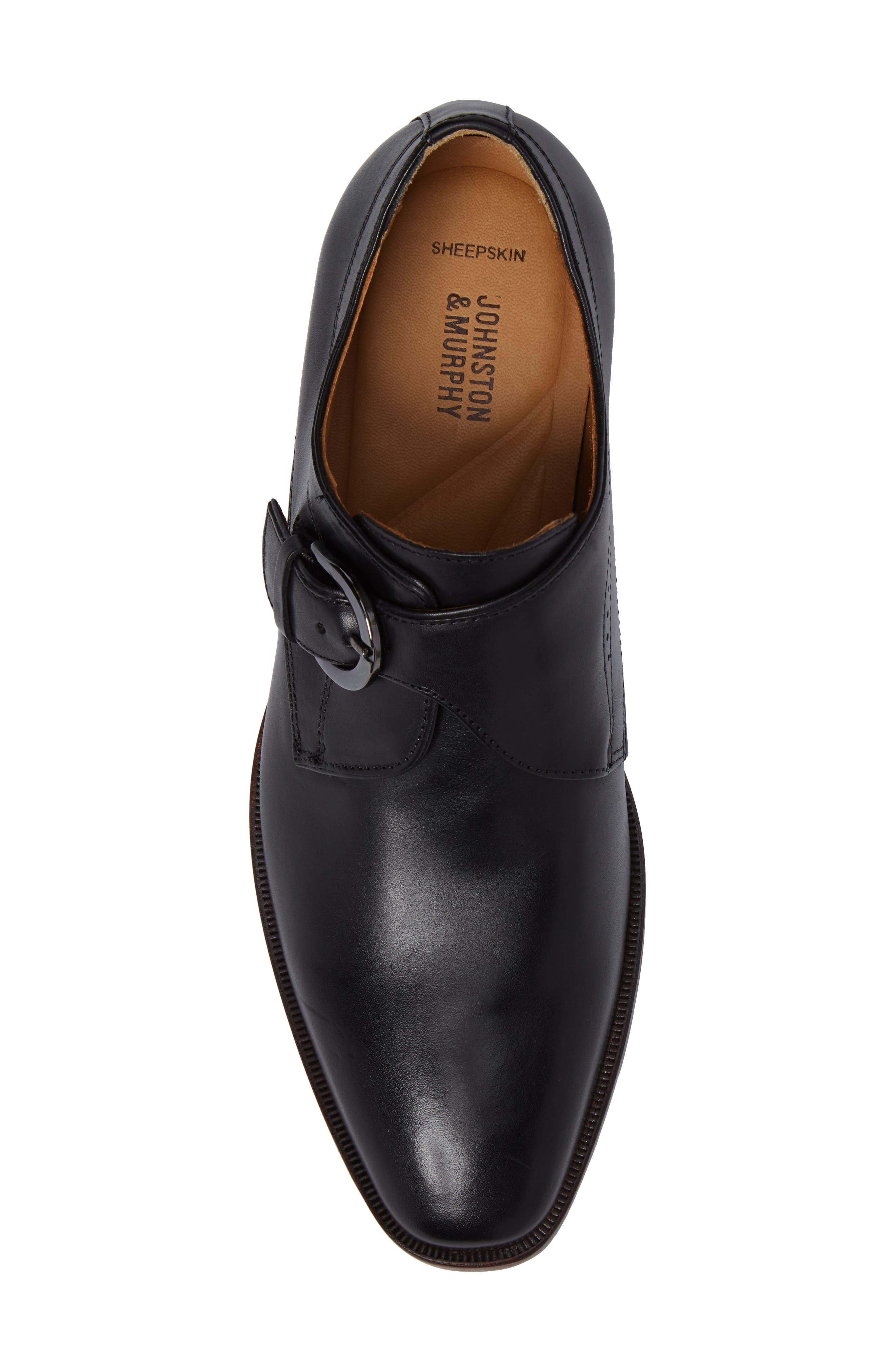 JOHNSTON & MURPHY, McClain Monk Strap Shoe, Alternate thumbnail 5, color, BLACK
