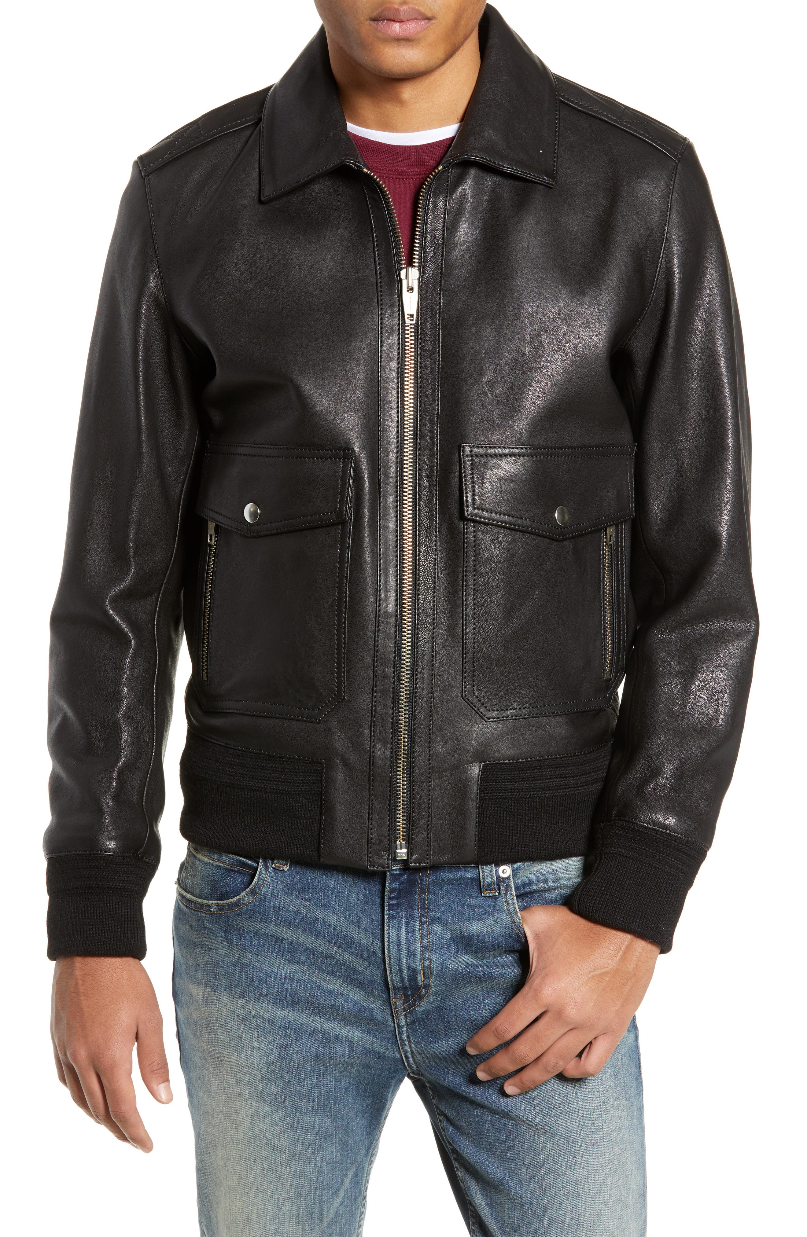 THE KOOPLES, Teddy Leather Jacket with Removable Genuine Lamb Shearling Trim, Alternate thumbnail 5, color, 001