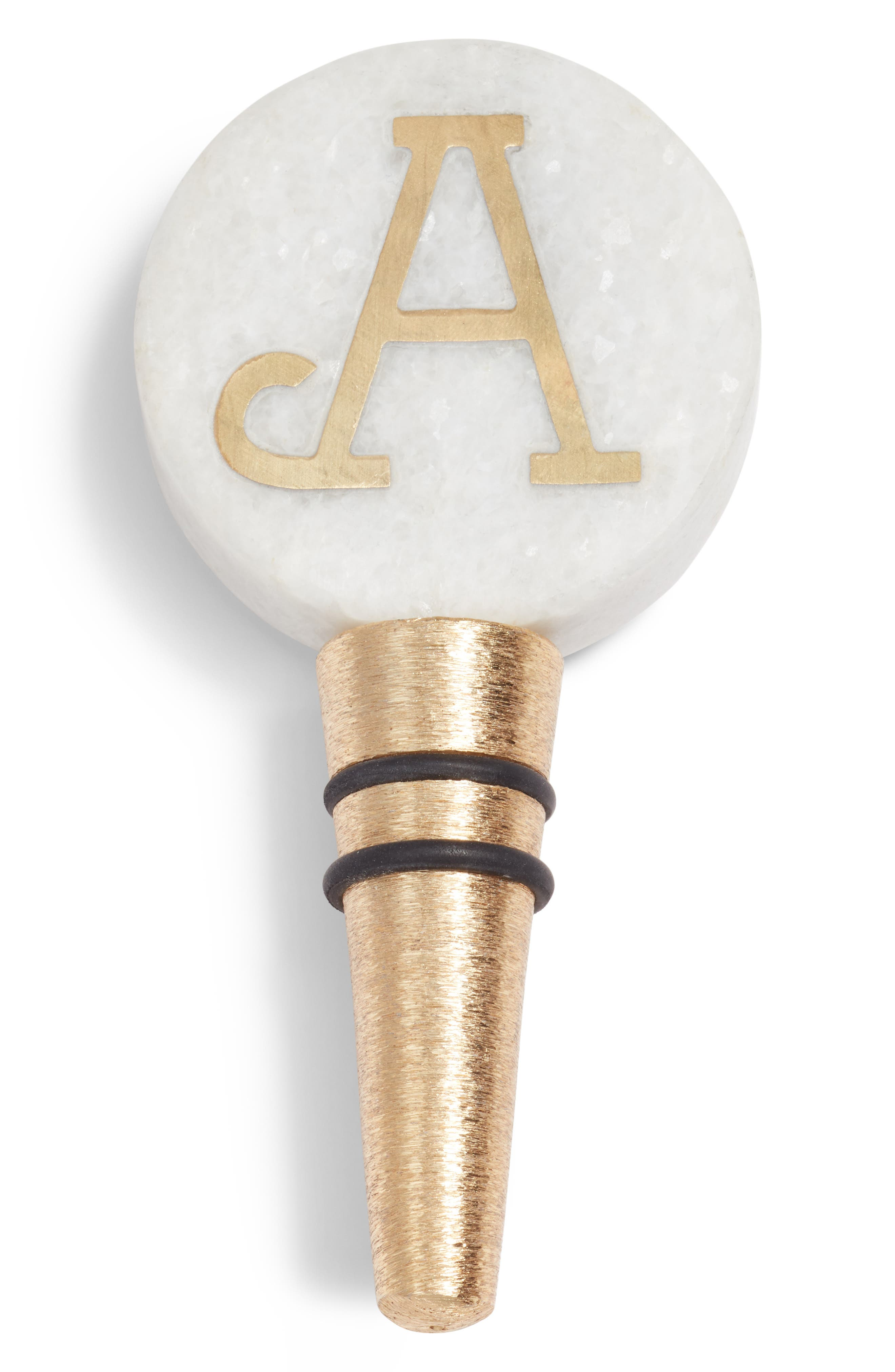 NORDSTROM AT HOME, Monogram Marble Bottle Stopper, Main thumbnail 1, color, WHITE/ GOLD A