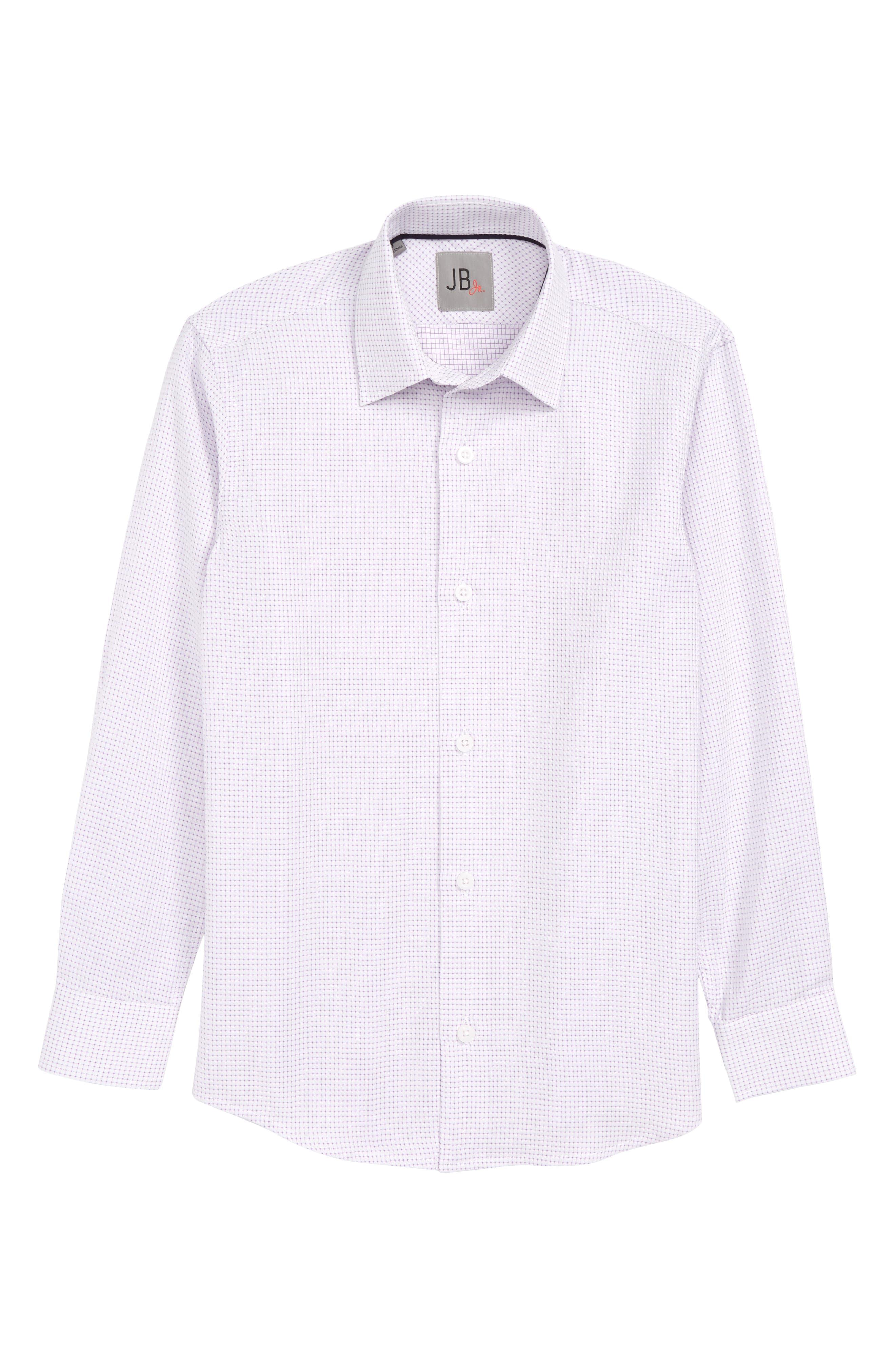 JB JR, Check Dress Shirt, Main thumbnail 1, color, LAVENDER