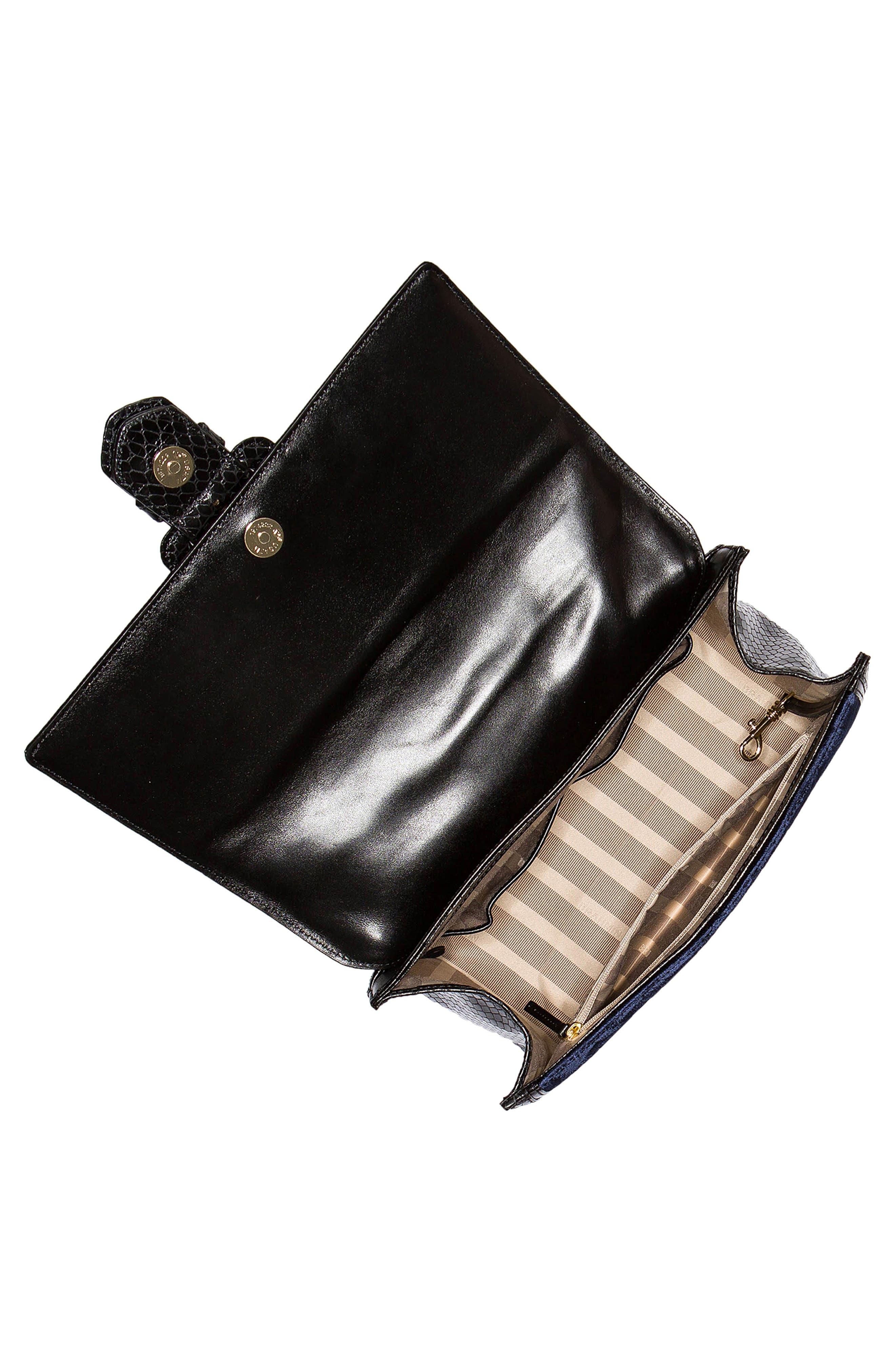 BRAHMIN, Medium Francine Snake Embossed Leather & Velvet Satchel, Alternate thumbnail 3, color, NAVY
