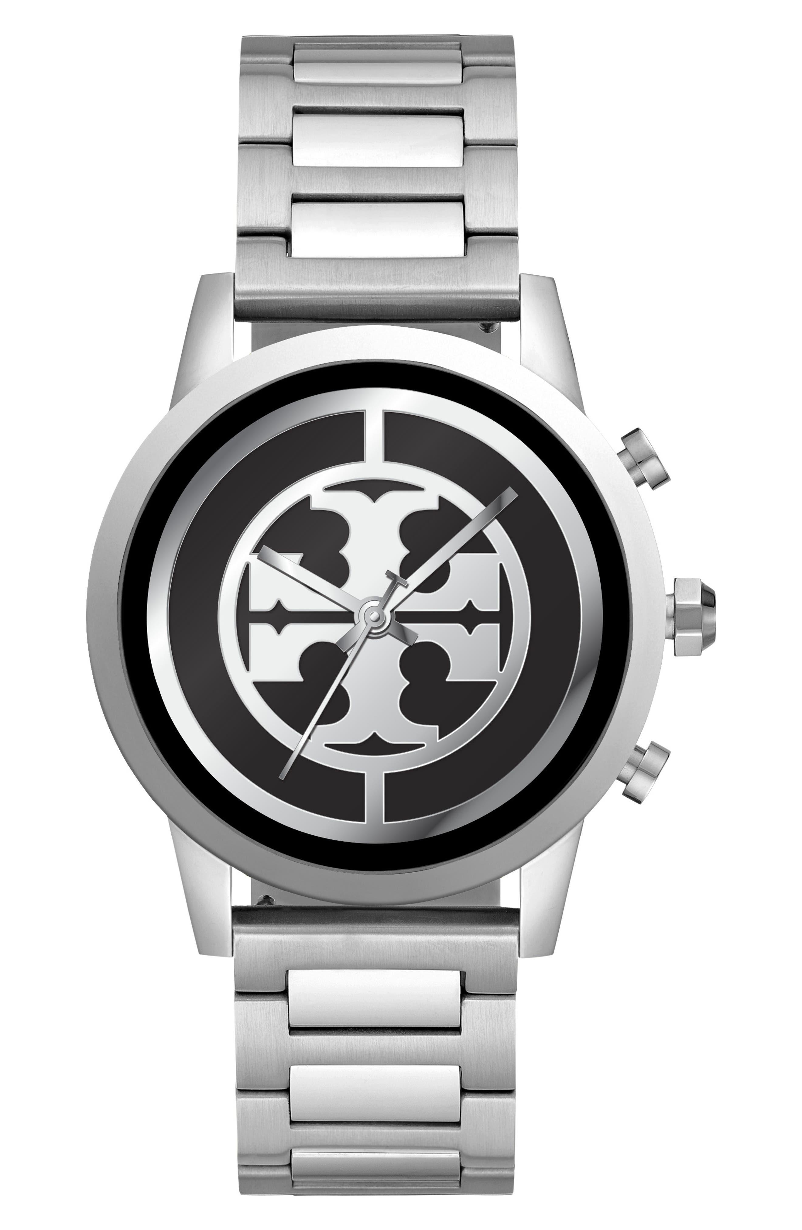 TORY BURCH, ToryTrack Gigi Touchscreen Smart Watch, 40mm, Alternate thumbnail 4, color, SILVER