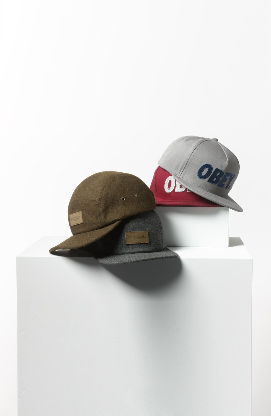 OBEY, 'Northern' Wool Cap, Alternate thumbnail 3, color, 020