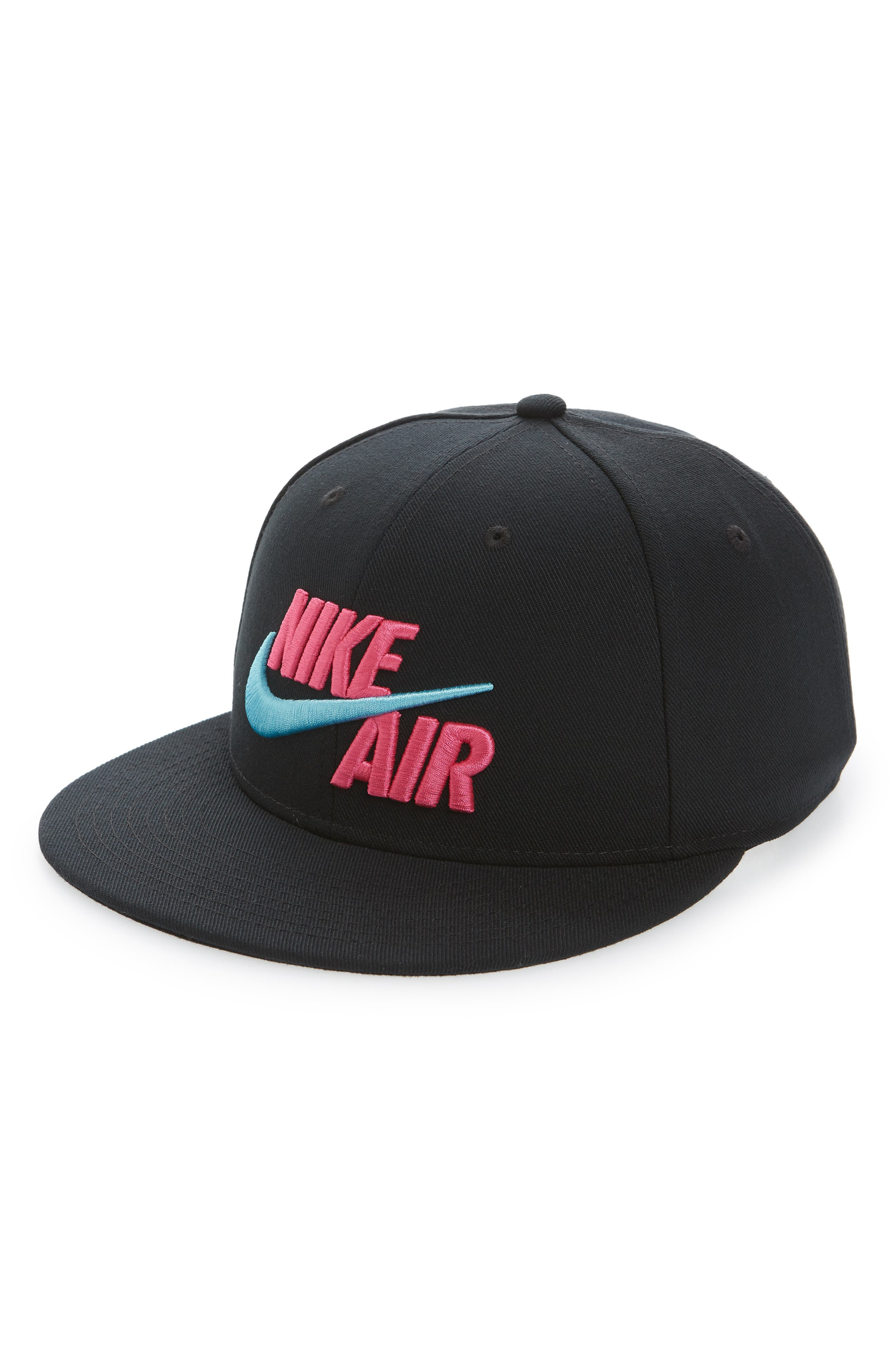 NIKE, Air True Snapback Baseball Cap, Main thumbnail 1, color, BLACK/ LASER FUCHSIA