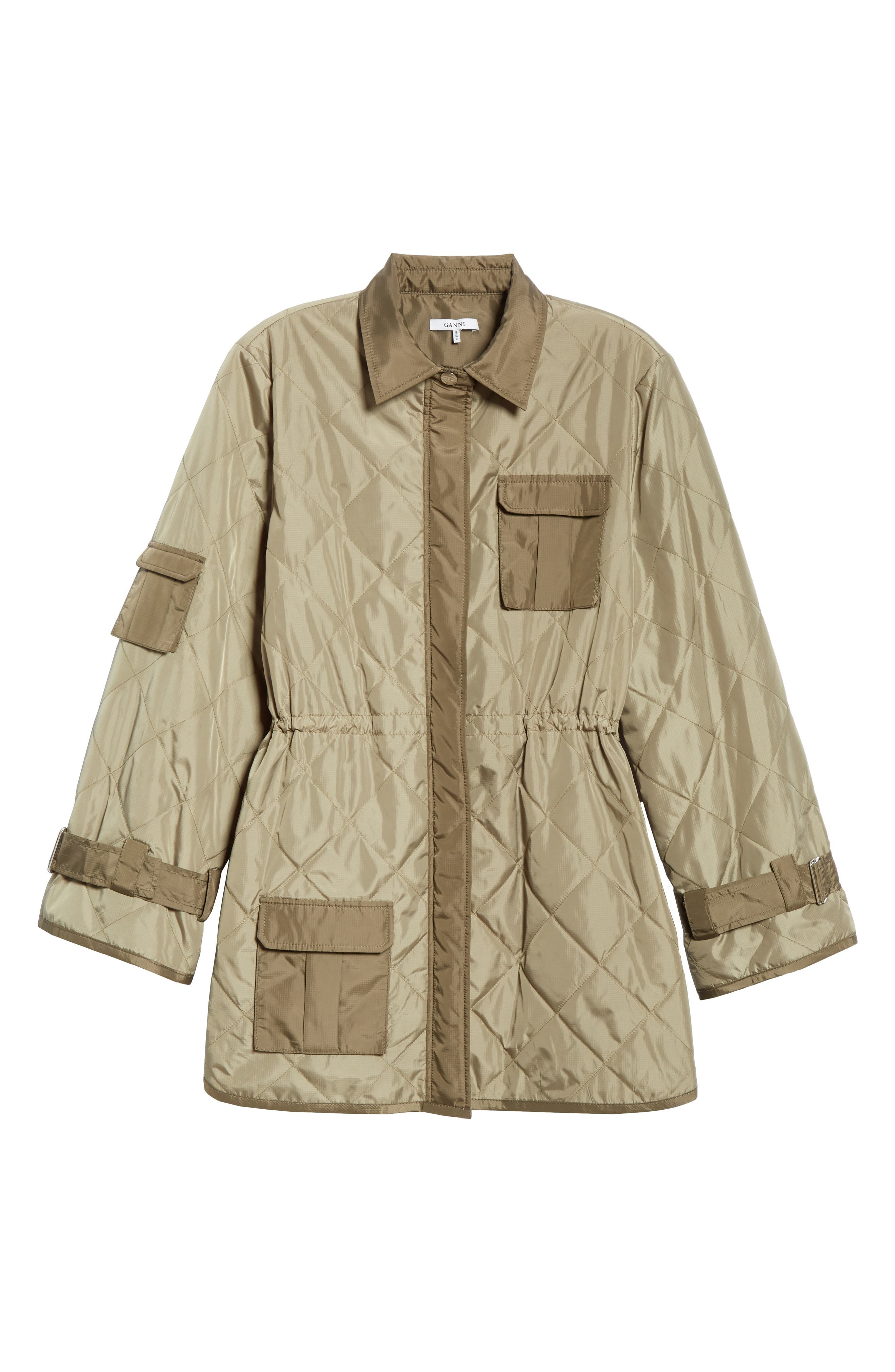 GANNI, Quilted Ripstop Jacket, Alternate thumbnail 5, color, ALOE