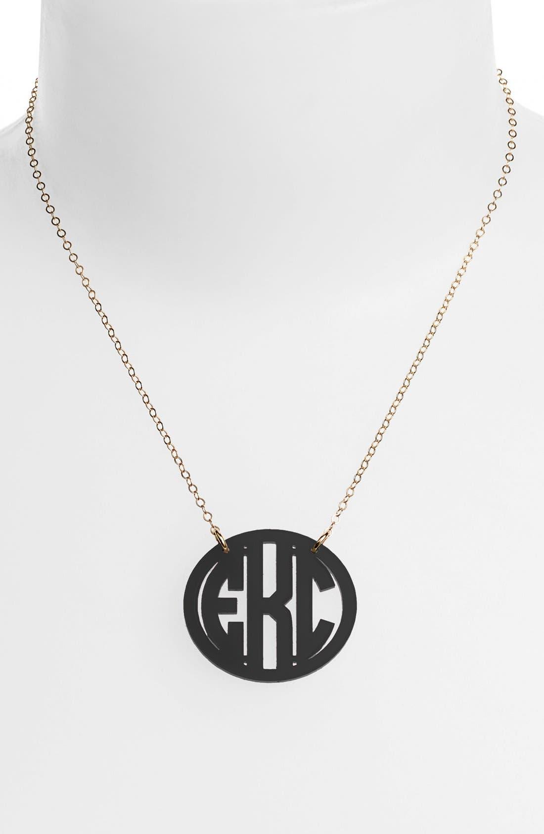 MOON AND LOLA, Medium Oval Personalized Monogram Pendant Necklace, Main thumbnail 1, color, EBONY/ GOLD