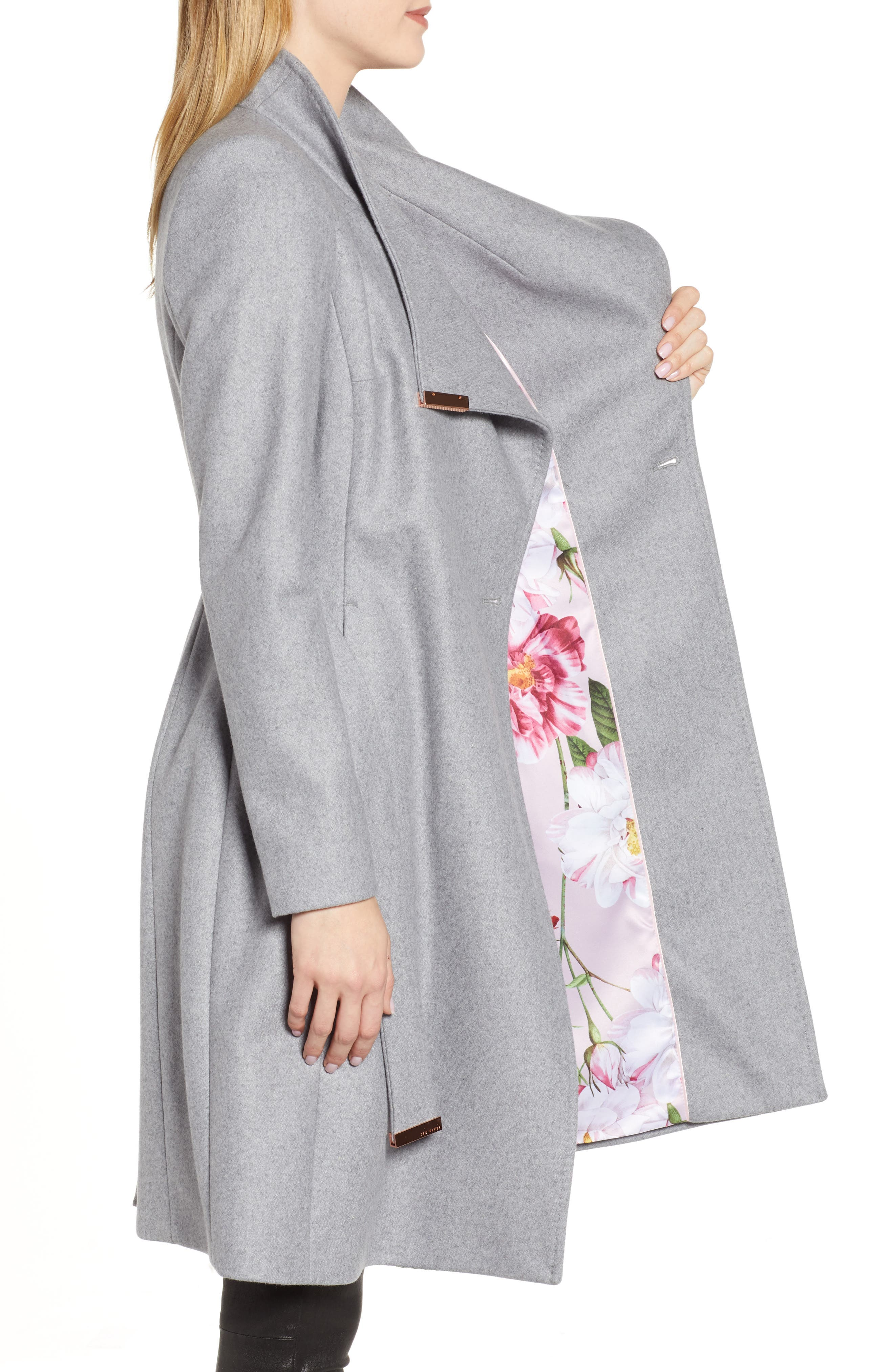 TED BAKER LONDON, Wool Blend Long Wrap Coat, Alternate thumbnail 4, color, 030
