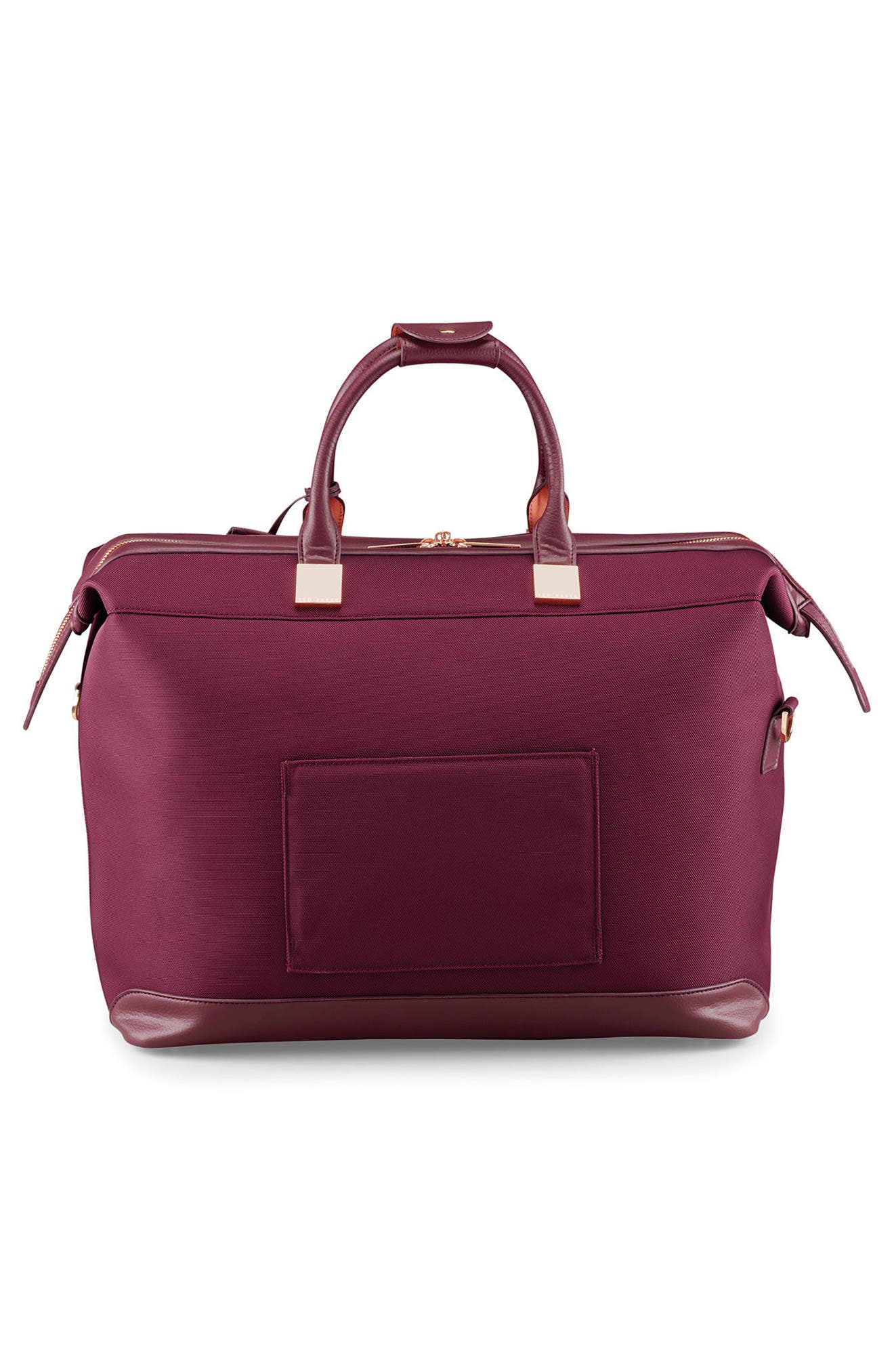 TED BAKER LONDON, Small Clipper Duffle Bag, Alternate thumbnail 3, color, BURGUNDY
