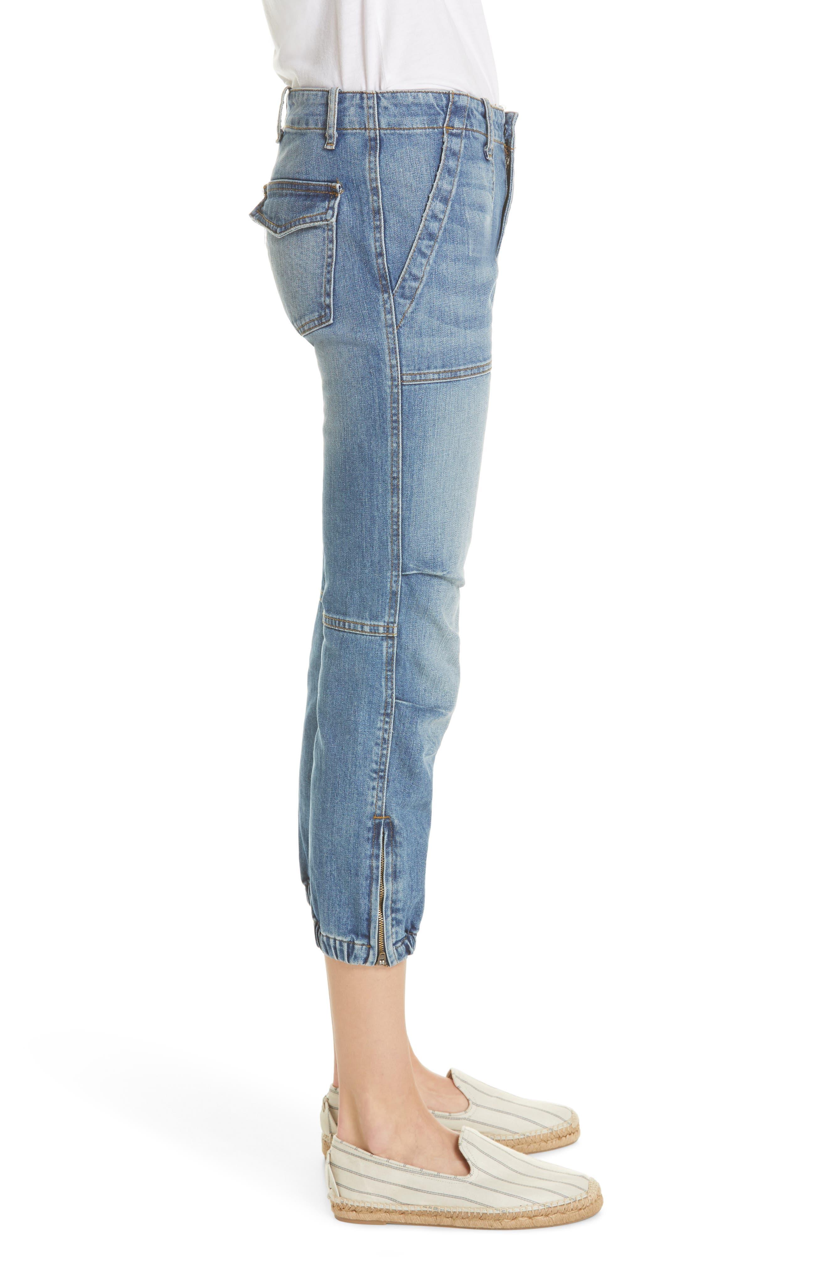 NILI LOTAN, Crop French Military Jeans, Alternate thumbnail 4, color, DUANE WASH