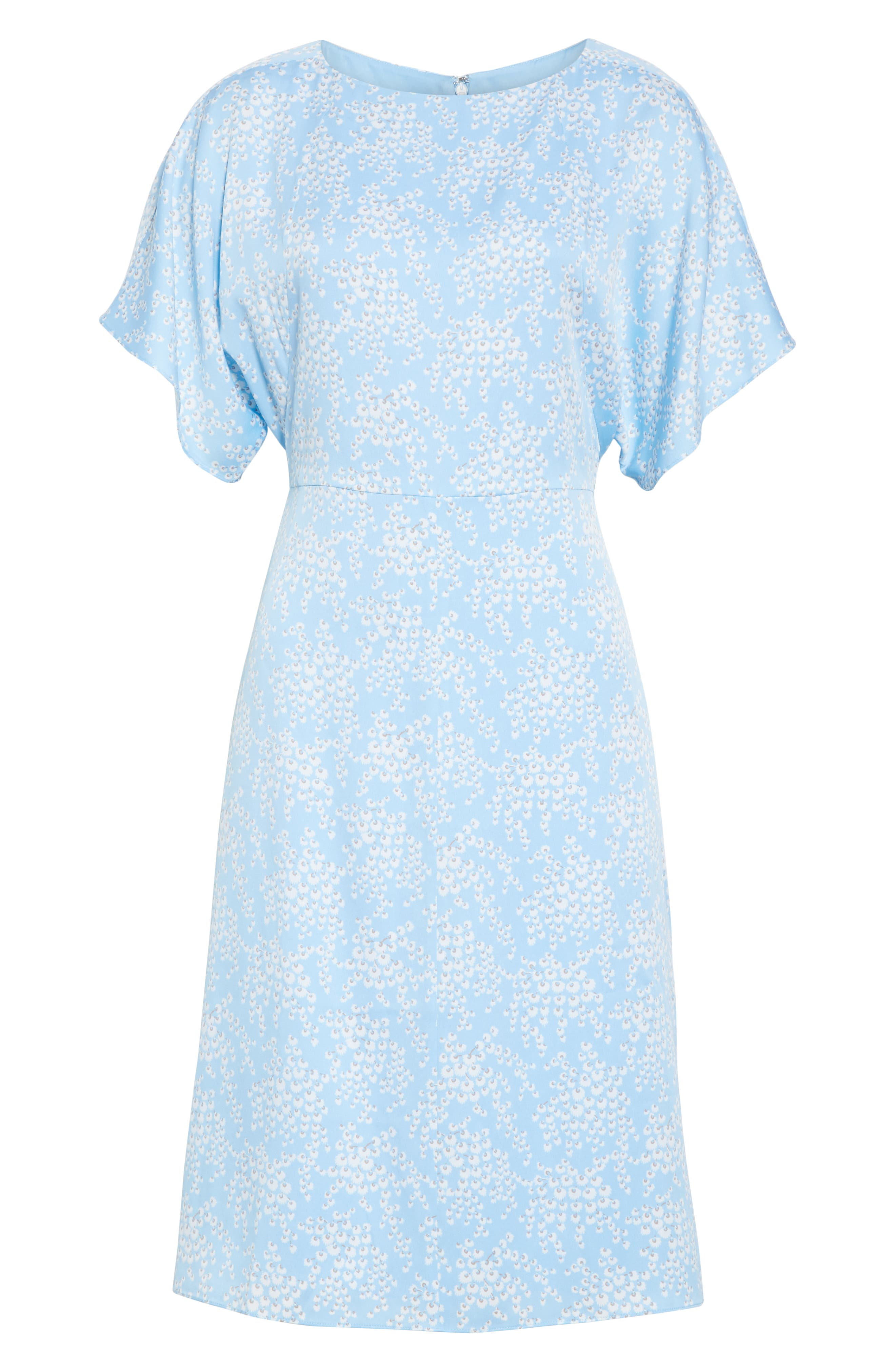 LEWIT, Kimono Sleeve Stretch Silk Dress, Alternate thumbnail 7, color, BLUE SIDDAL FLORAL