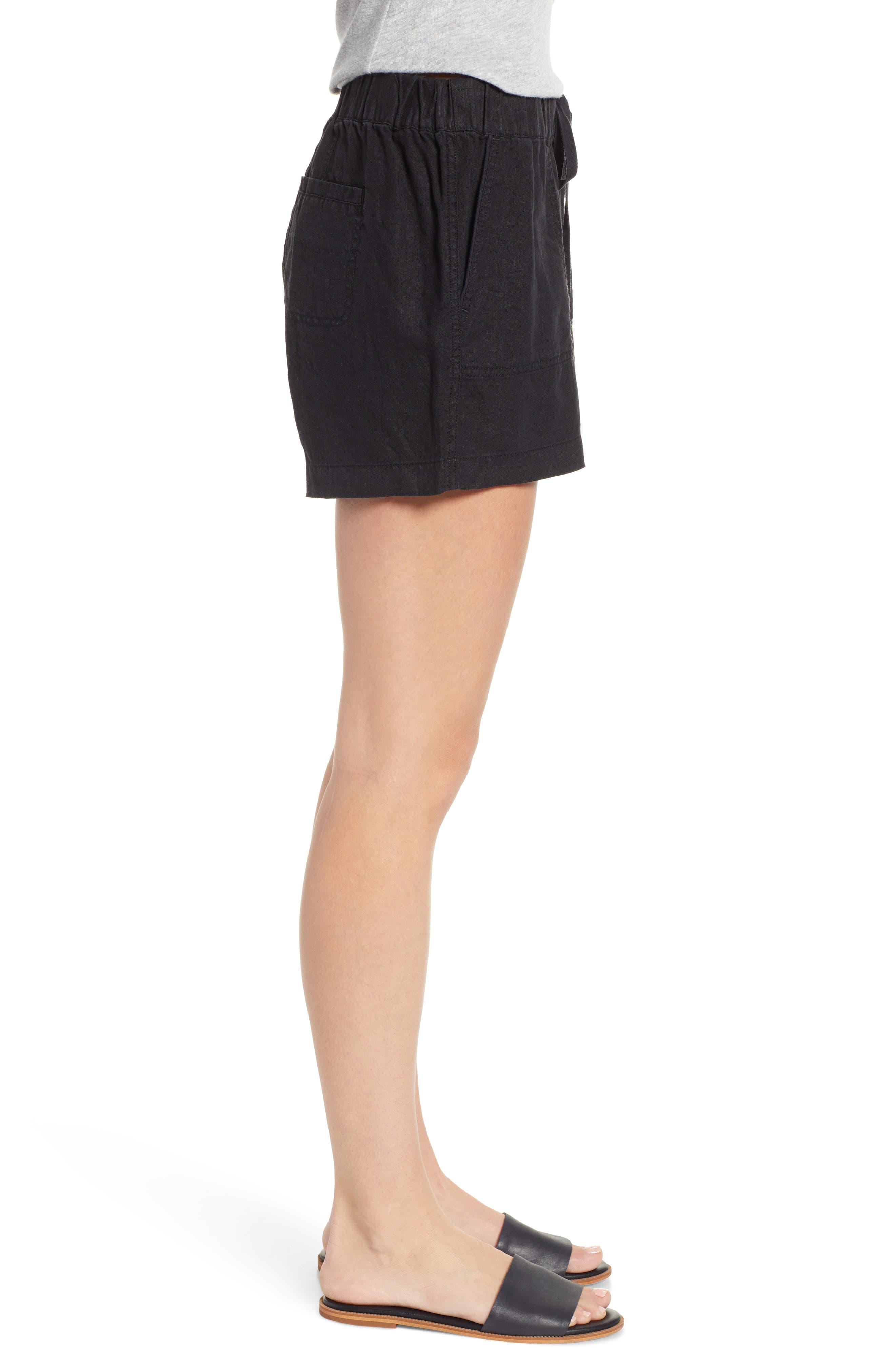 CASLON<SUP>®</SUP>, Linen Shorts, Alternate thumbnail 3, color, BLACK