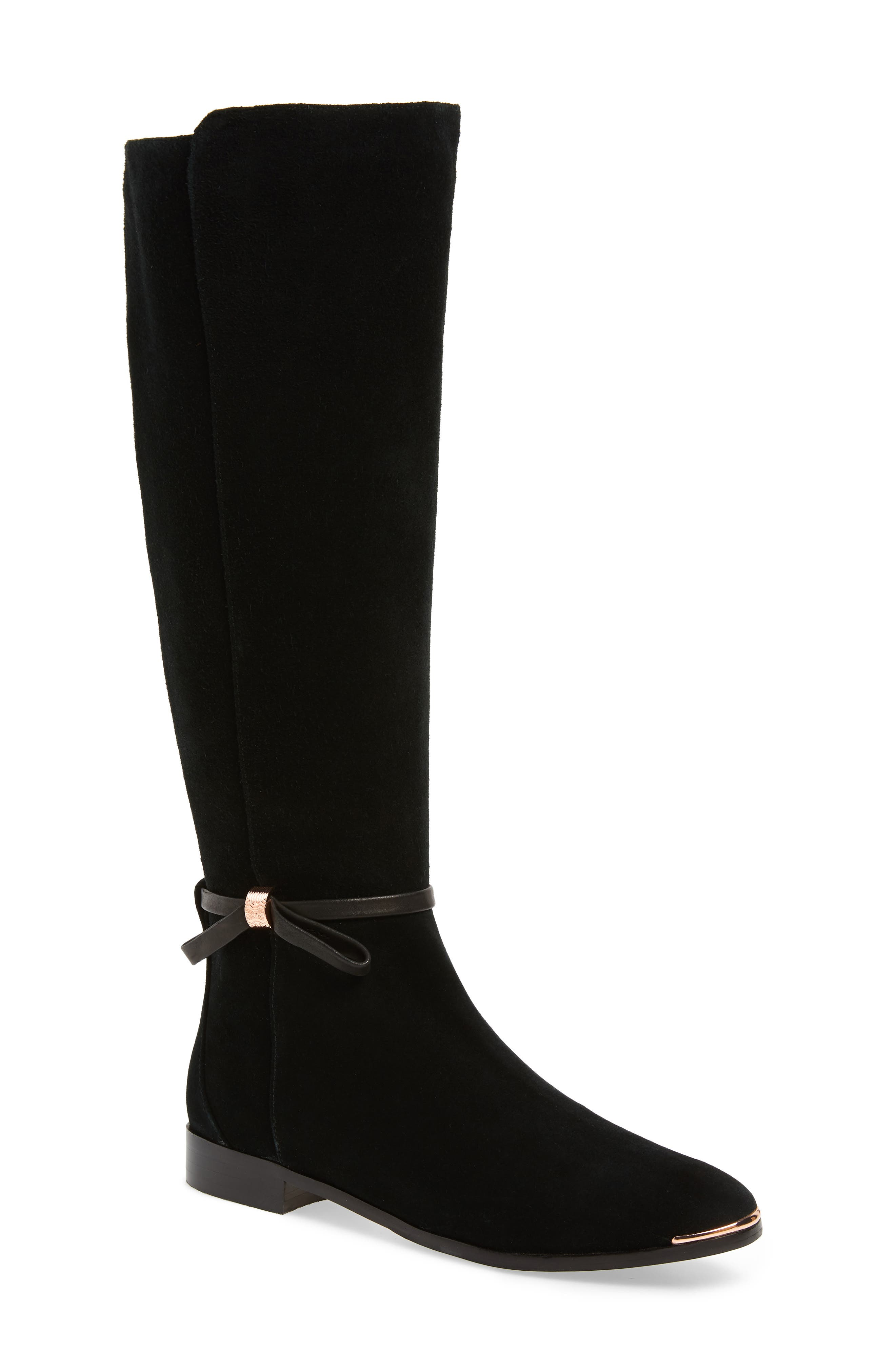TED BAKER LONDON, Lykla Knee High Boot, Main thumbnail 1, color, BLACK SUEDE