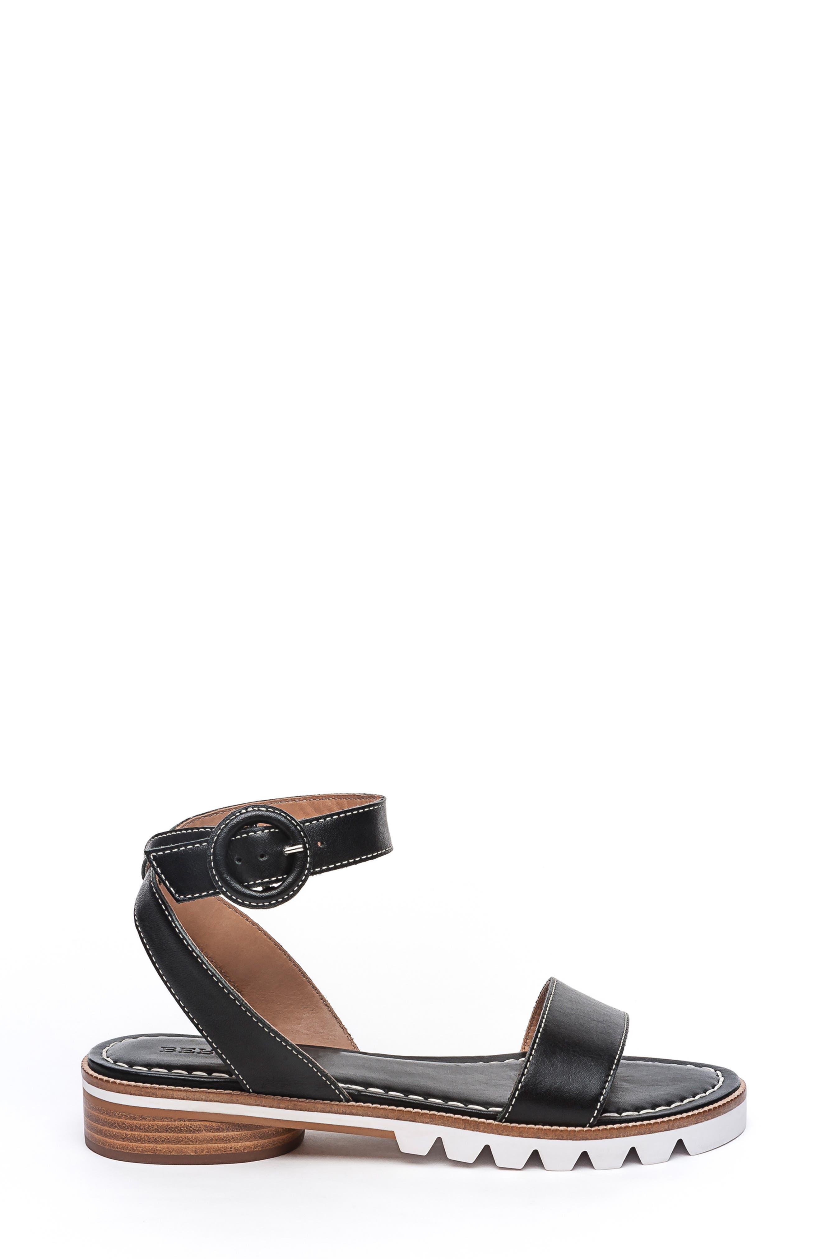 BERNARDO, Footwear Alexis Ankle Strap Sandal, Alternate thumbnail 3, color, BLACK