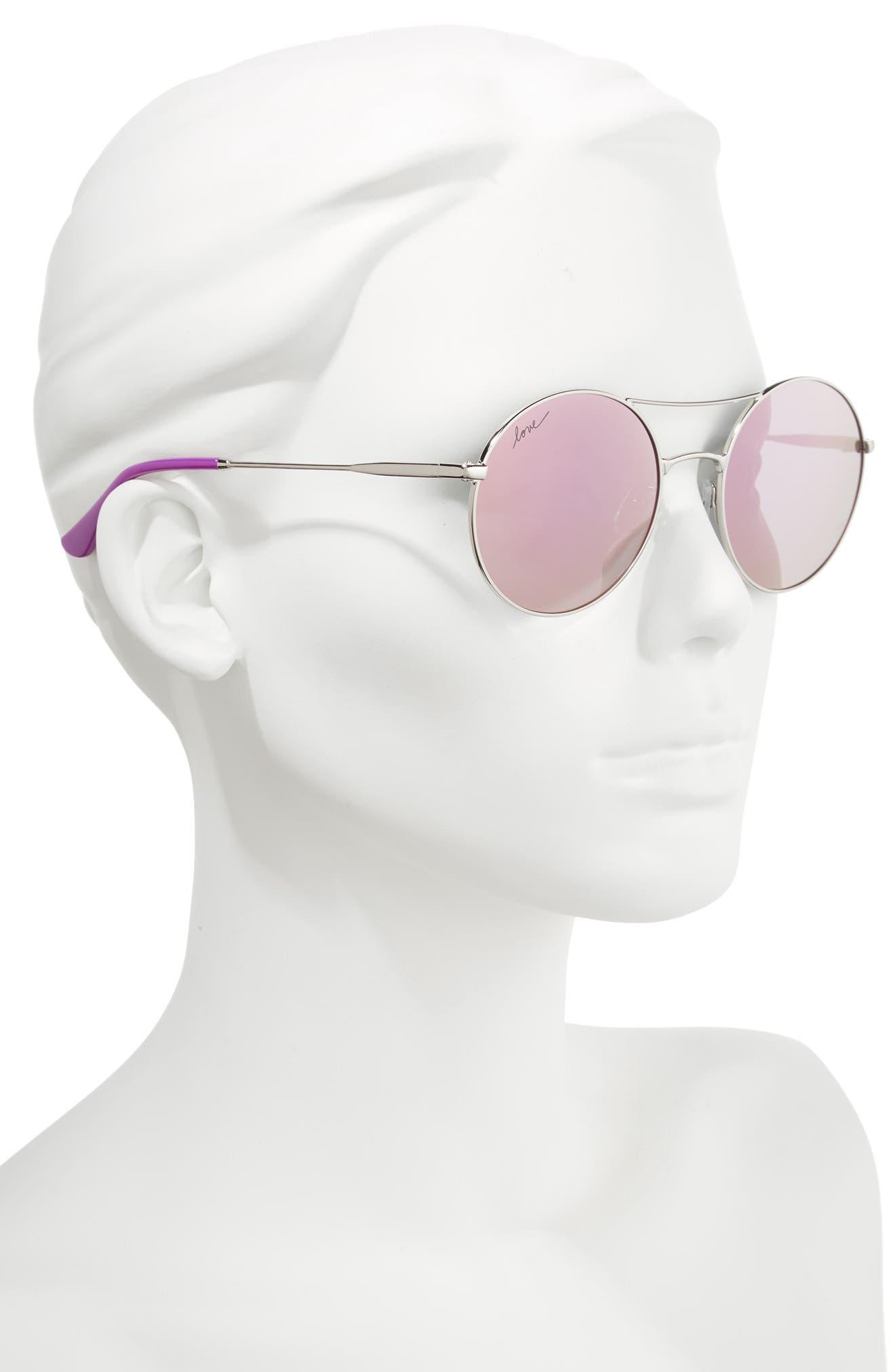 ED ELLEN DEGENERES, 55mm Round Sunglasses, Alternate thumbnail 2, color, SILVER