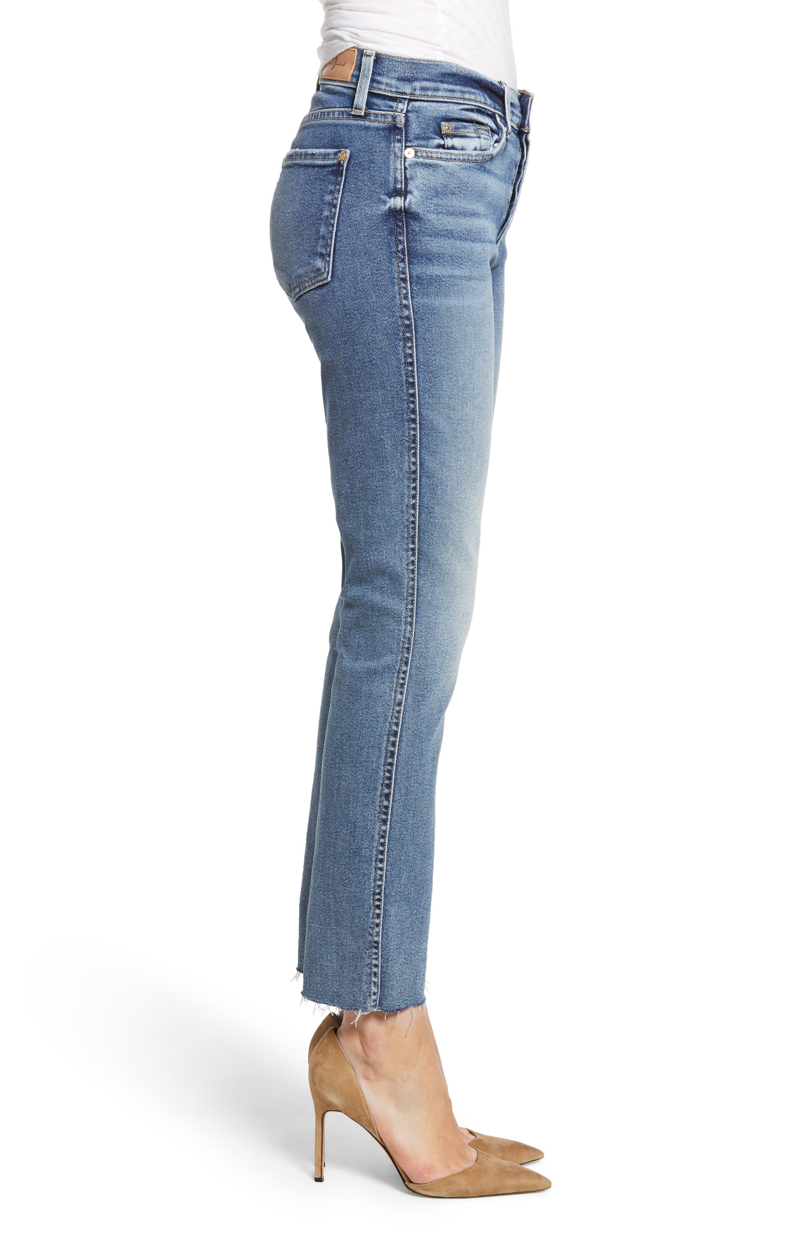 7 FOR ALL MANKIND<SUP>®</SUP>, Luxe Vintage Edie Cutoff Hem Straight Leg Jeans, Alternate thumbnail 4, color, LUXE VINTAGE MUSE