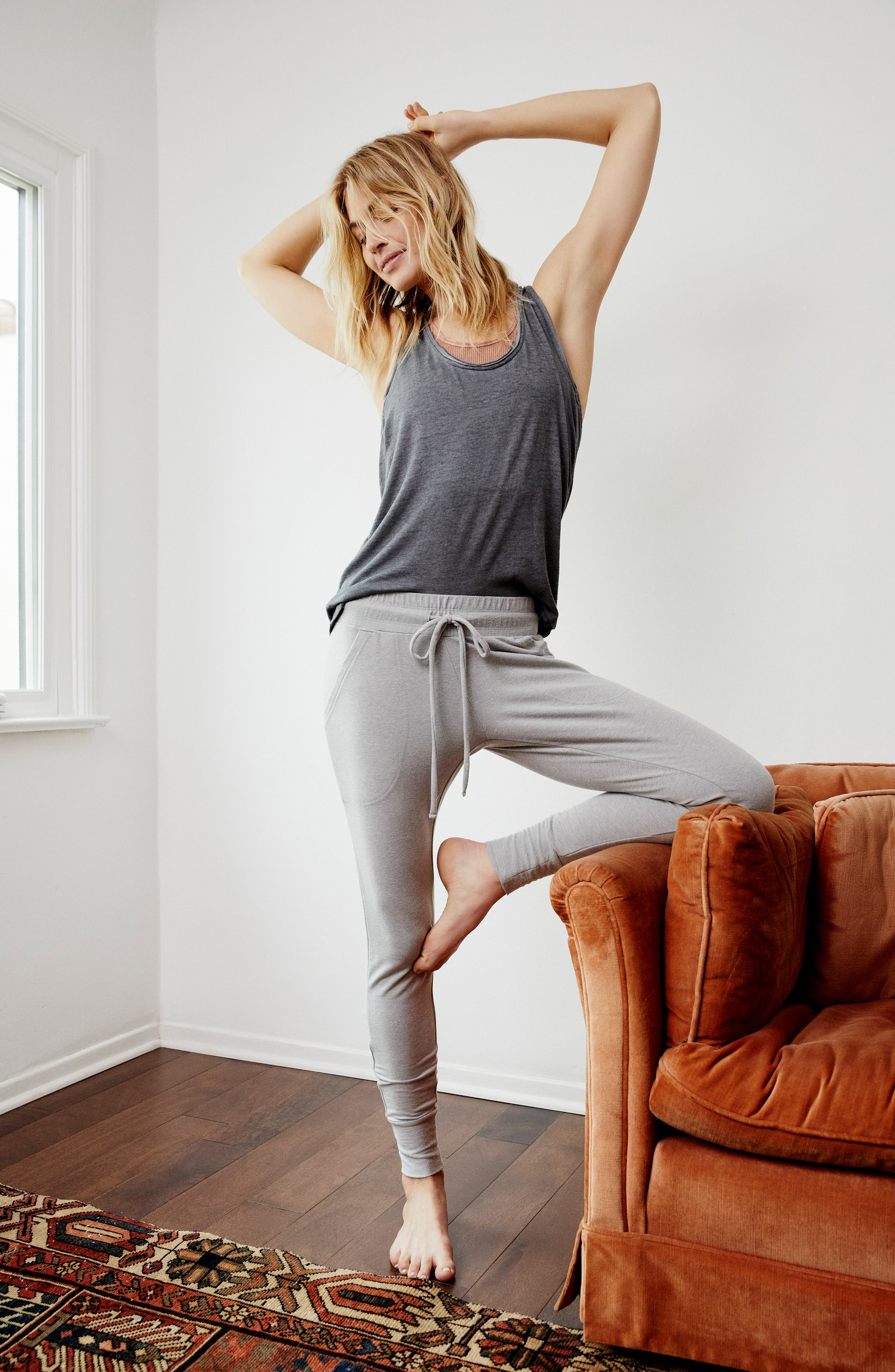 FREE PEOPLE MOVEMENT, Sunny Skinny Sweatpants, Alternate thumbnail 8, color, DARK GREY