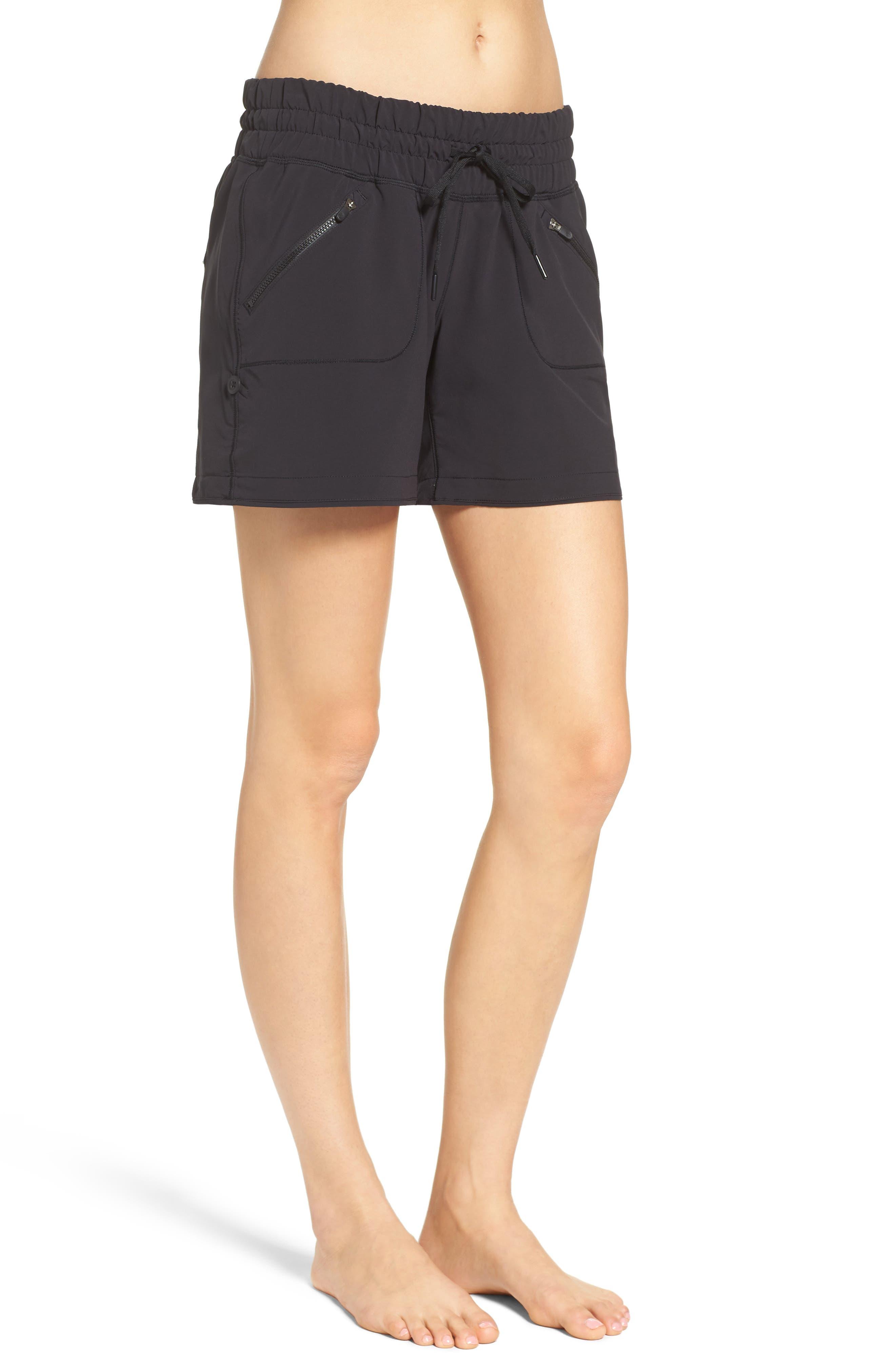ZELLA, Switchback Shorts, Alternate thumbnail 4, color, BLACK