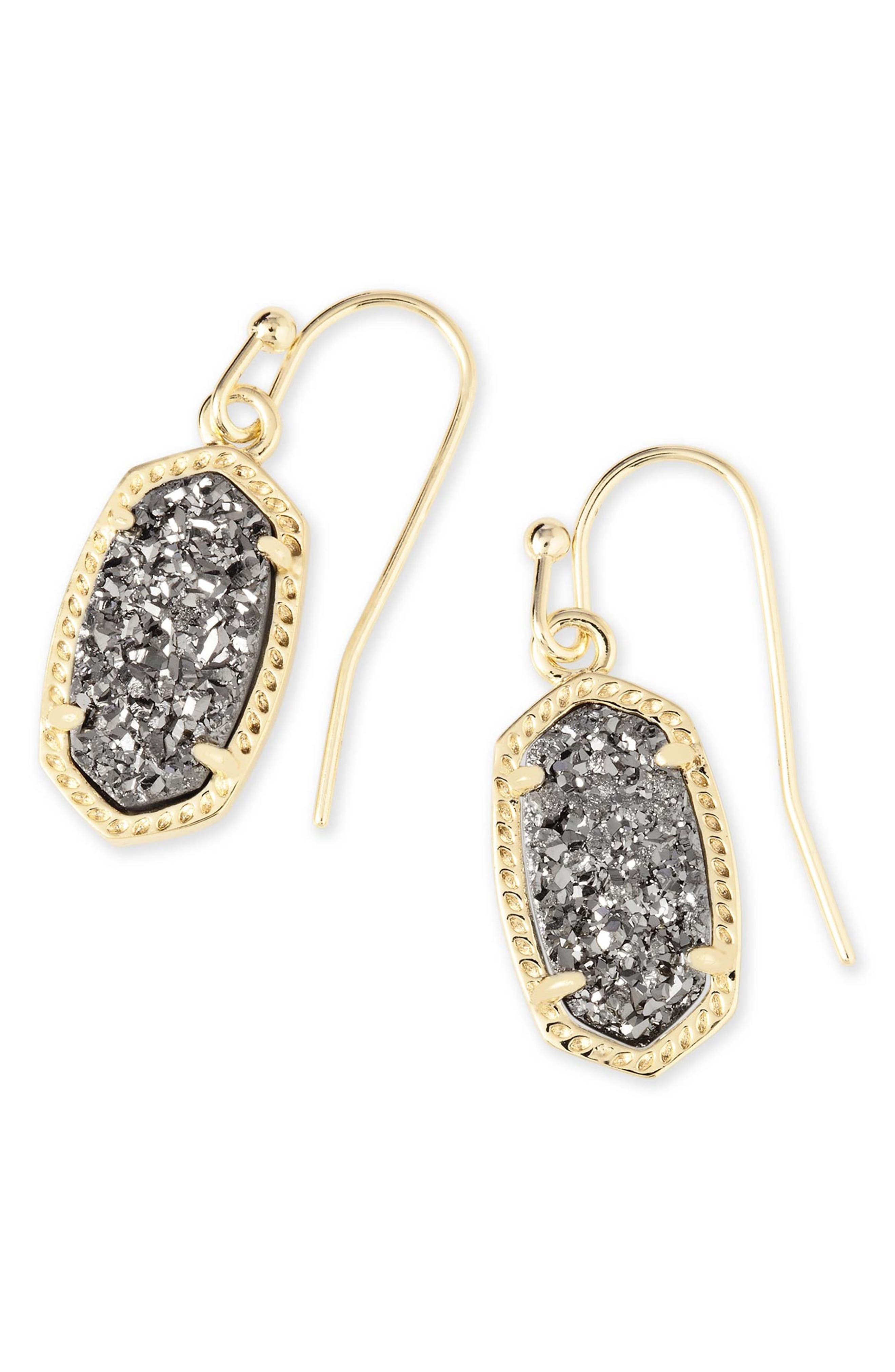 KENDRA SCOTT Lee Small Drop Earrings, Main, color, PLATINUM DRUSY/ GOLD